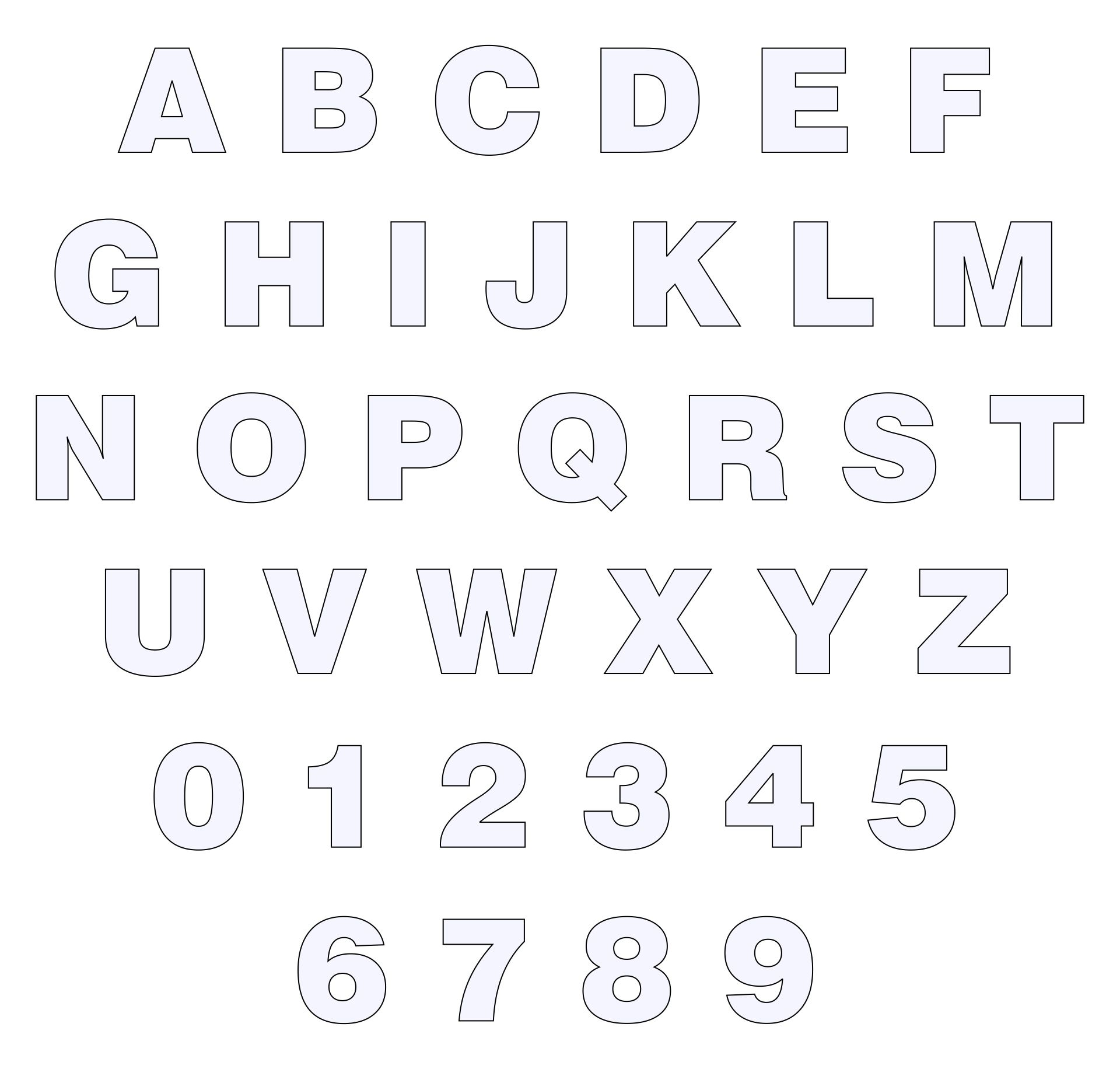 Printable Block Letters And Numbers