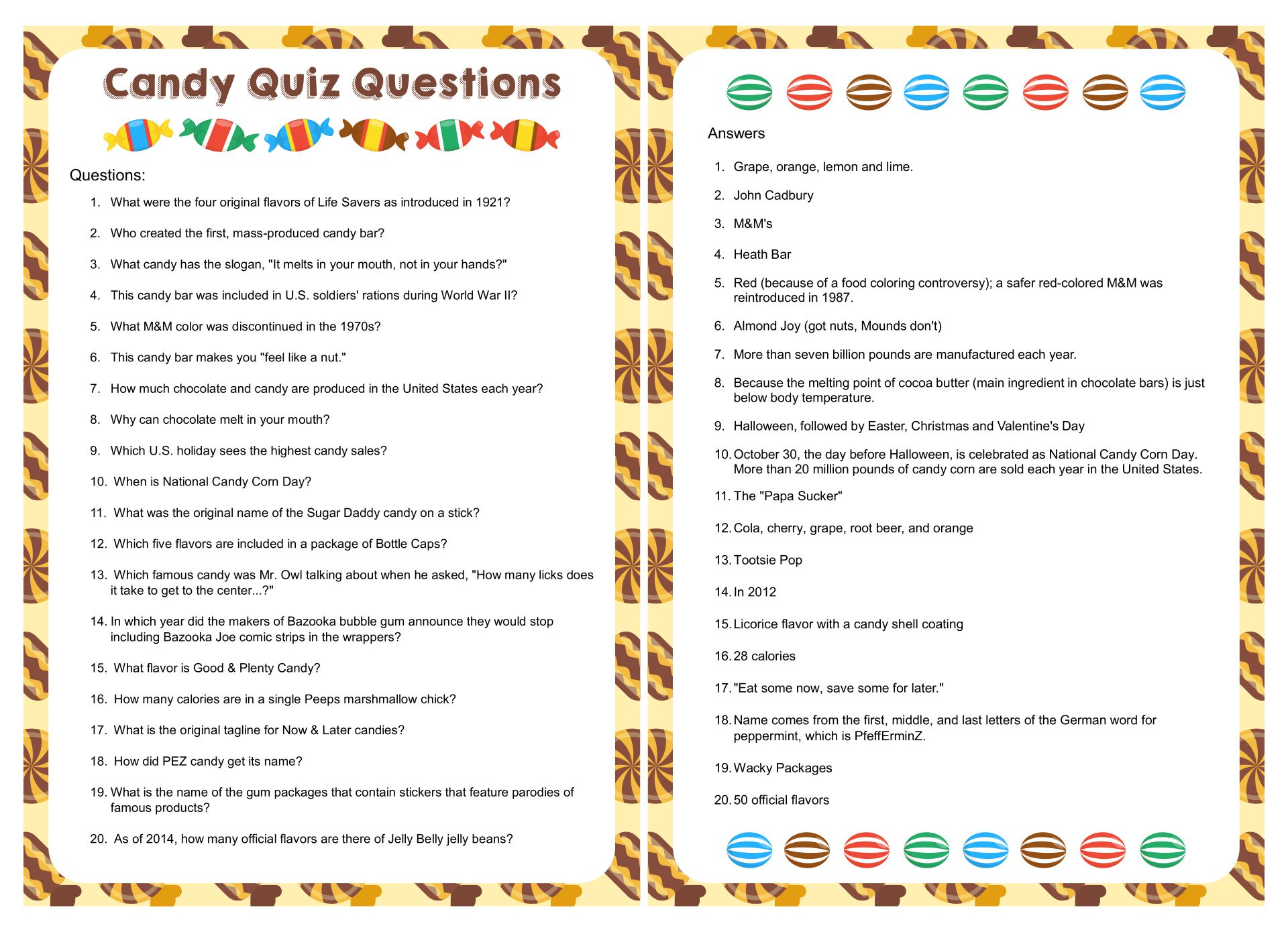 Printable Candy Quiz Answers And Questions