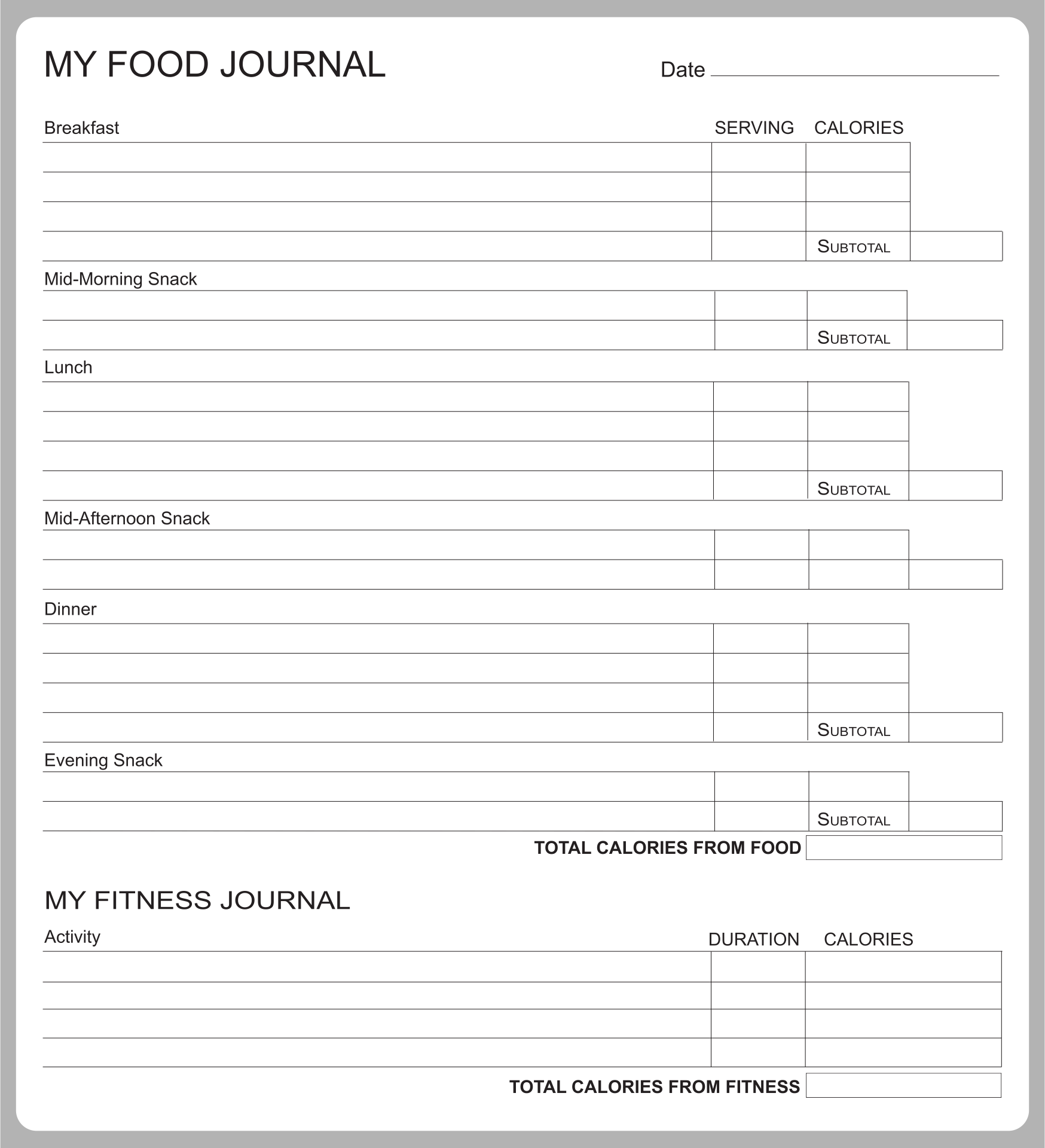 Printable Food Diary Example With Calories