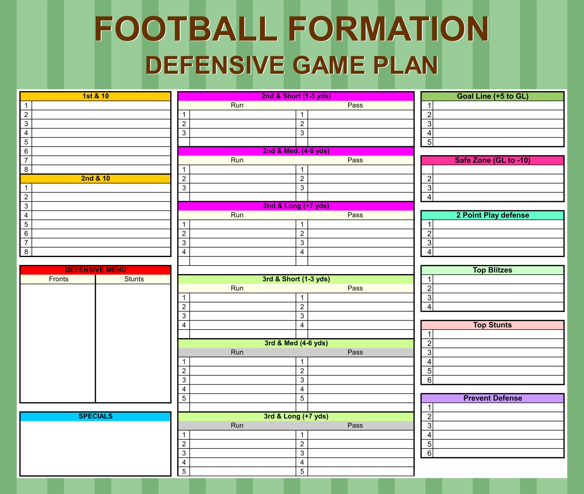 Printable Football Game Plans Templates