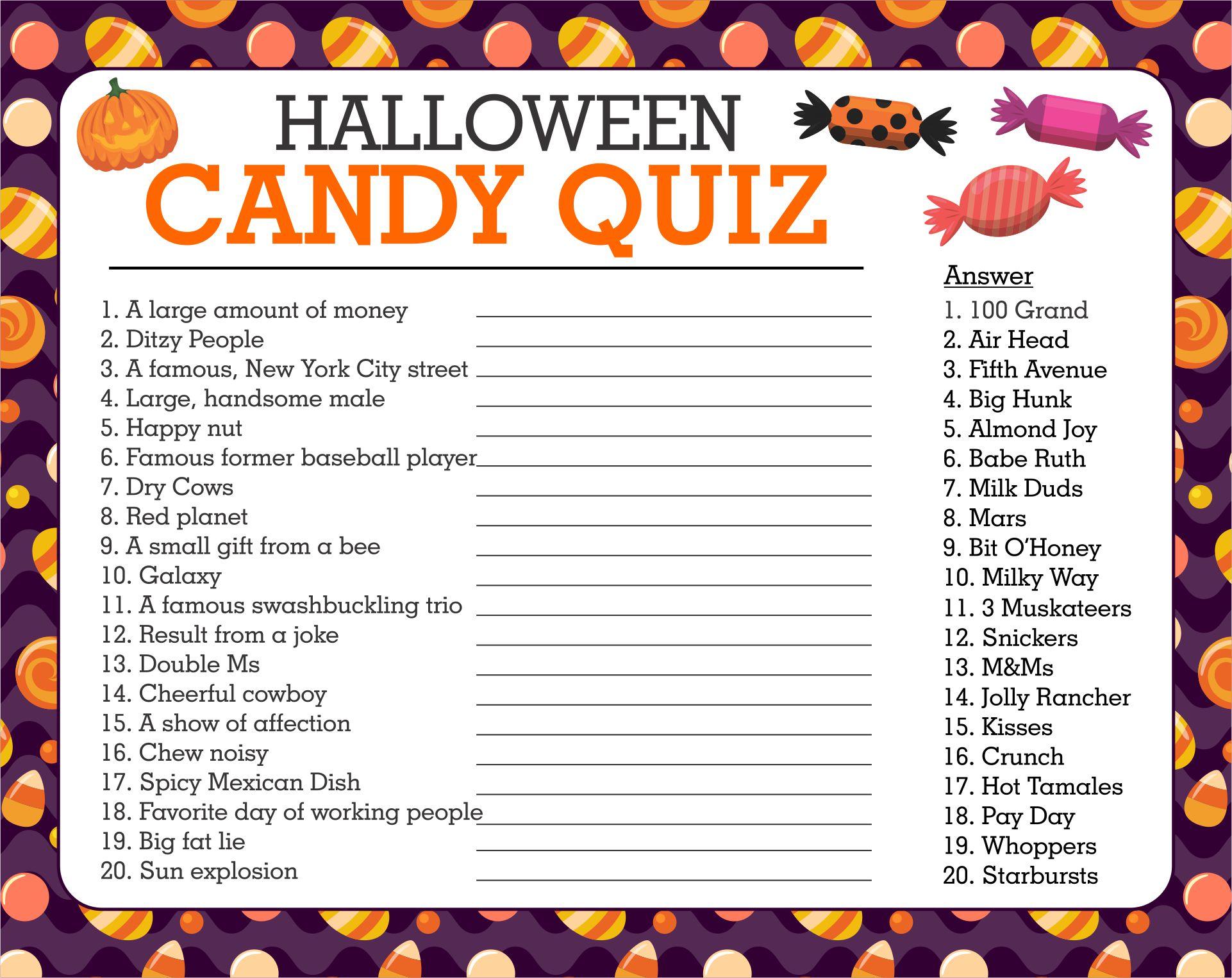 Printable Halloween Candy Quiz