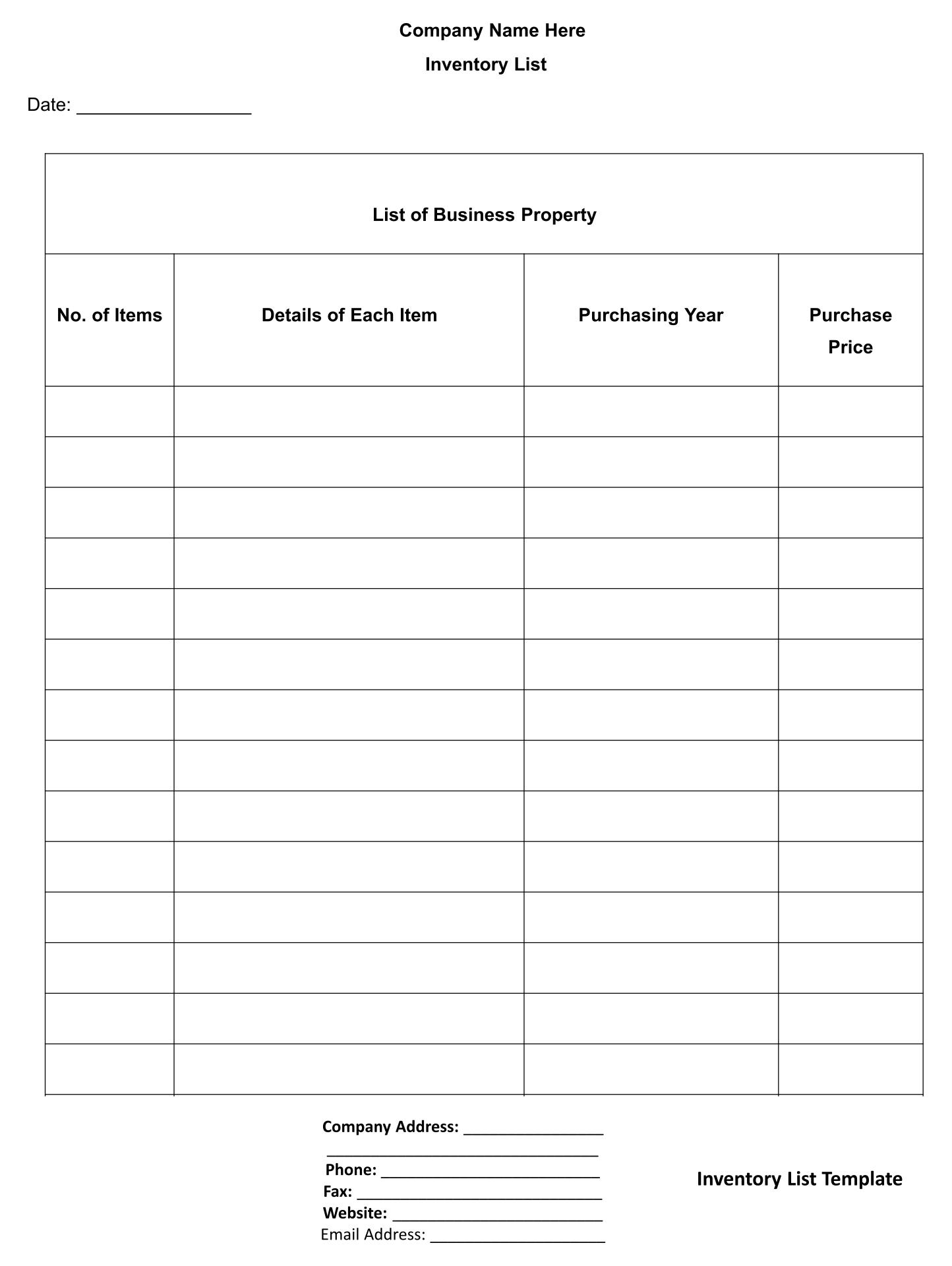 Printable Inventory Log Sheet Excel Template