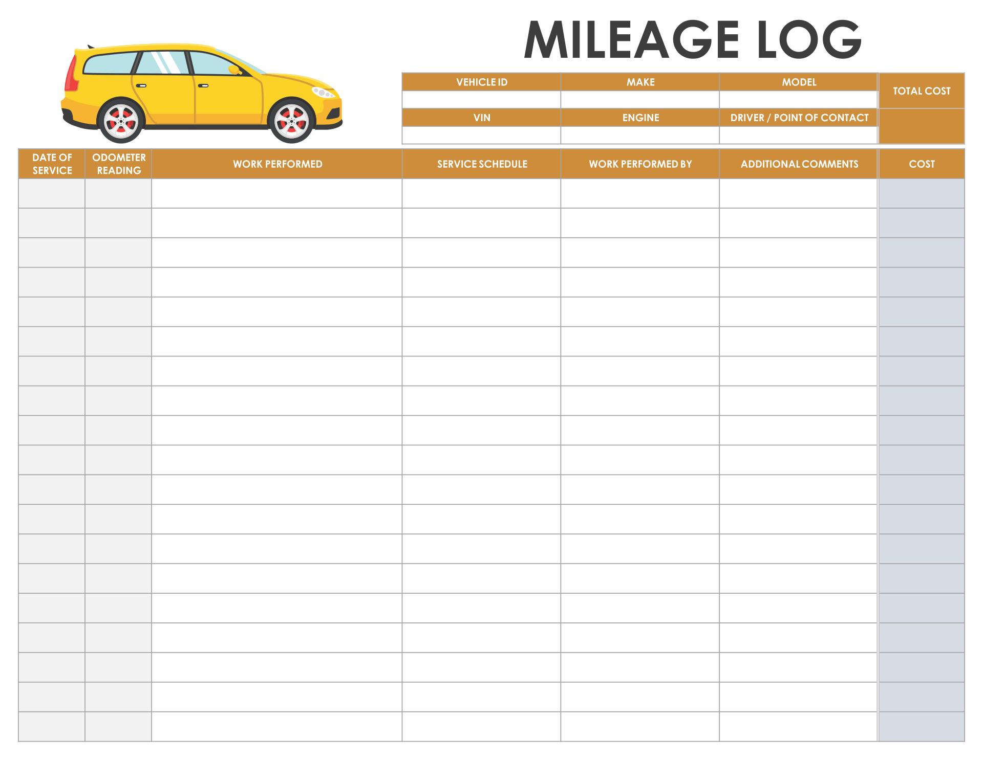 Printable Mileage Log Sheet Template Free Download