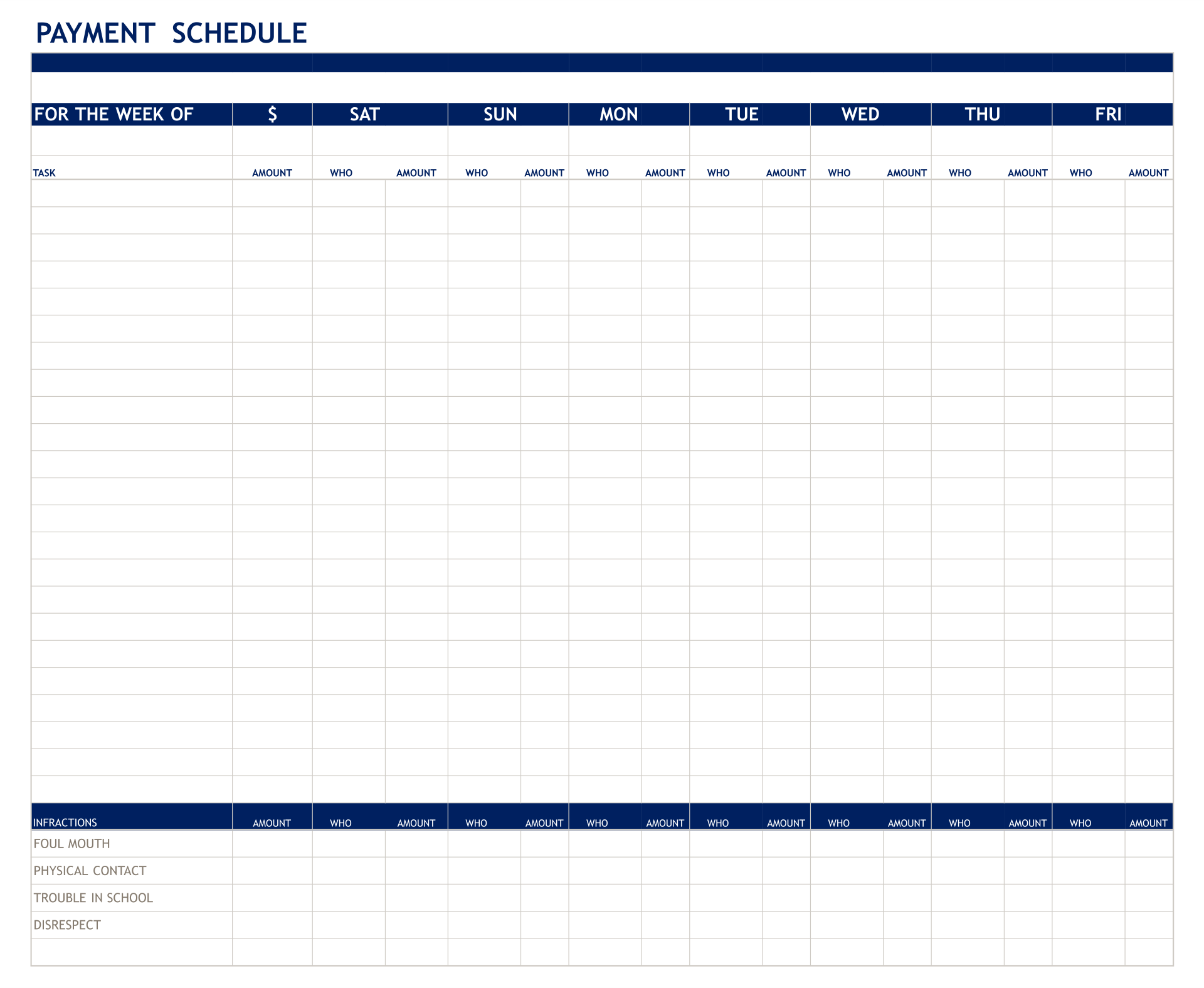 Printable Payment Schedule Template Excel