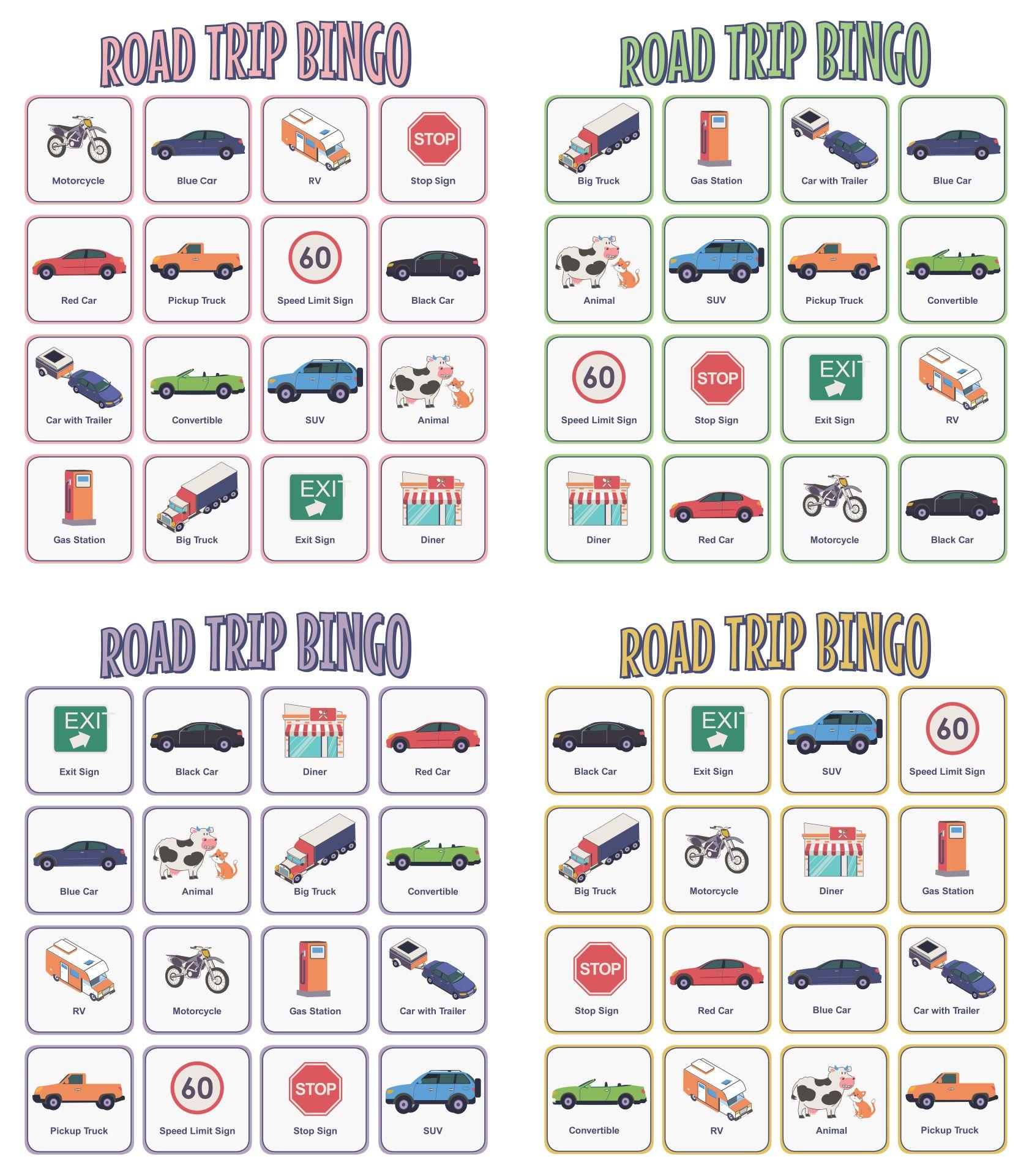 Printable Road Trip Activity Sheets