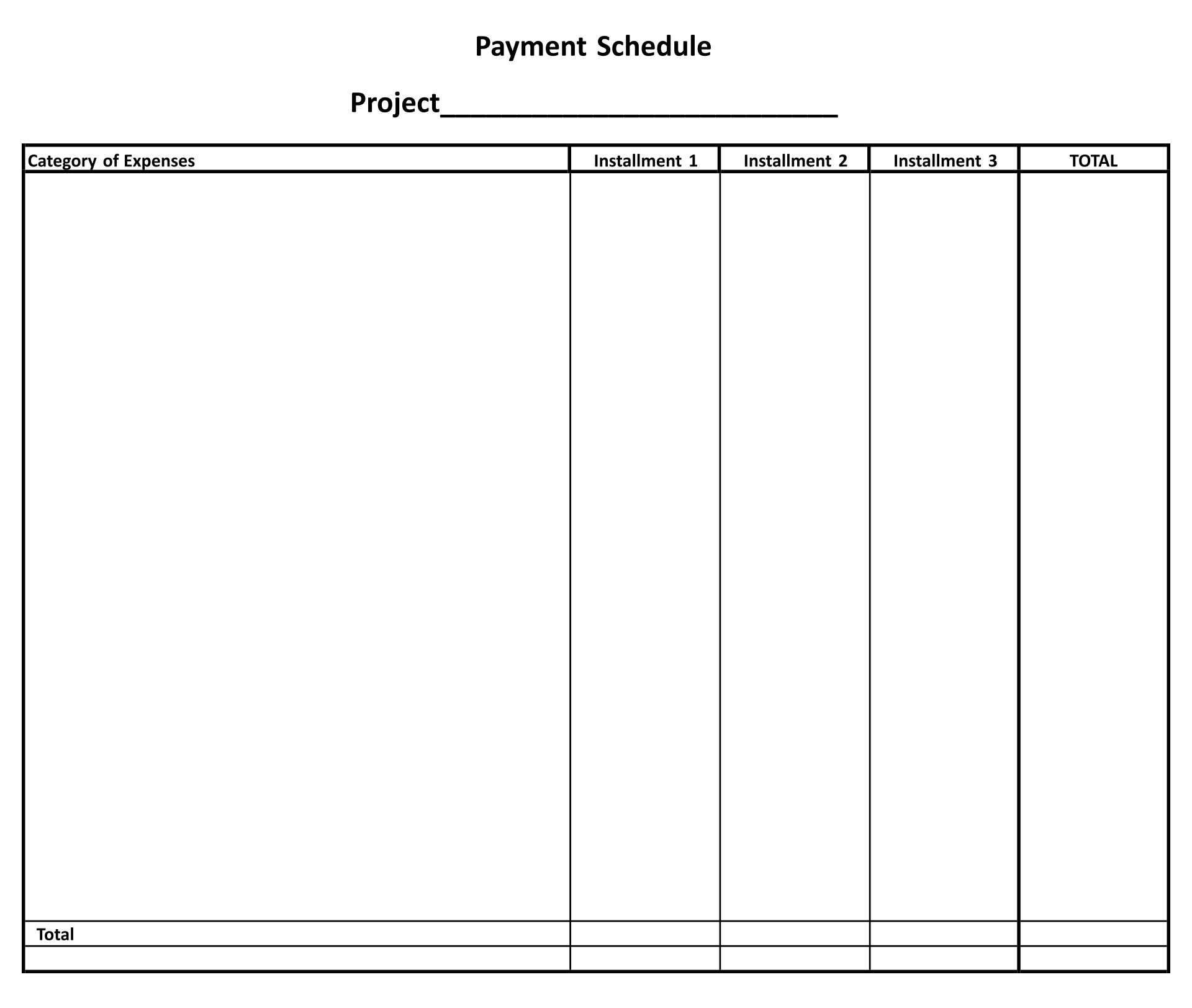 Printable Simple Payment Schedule Template
