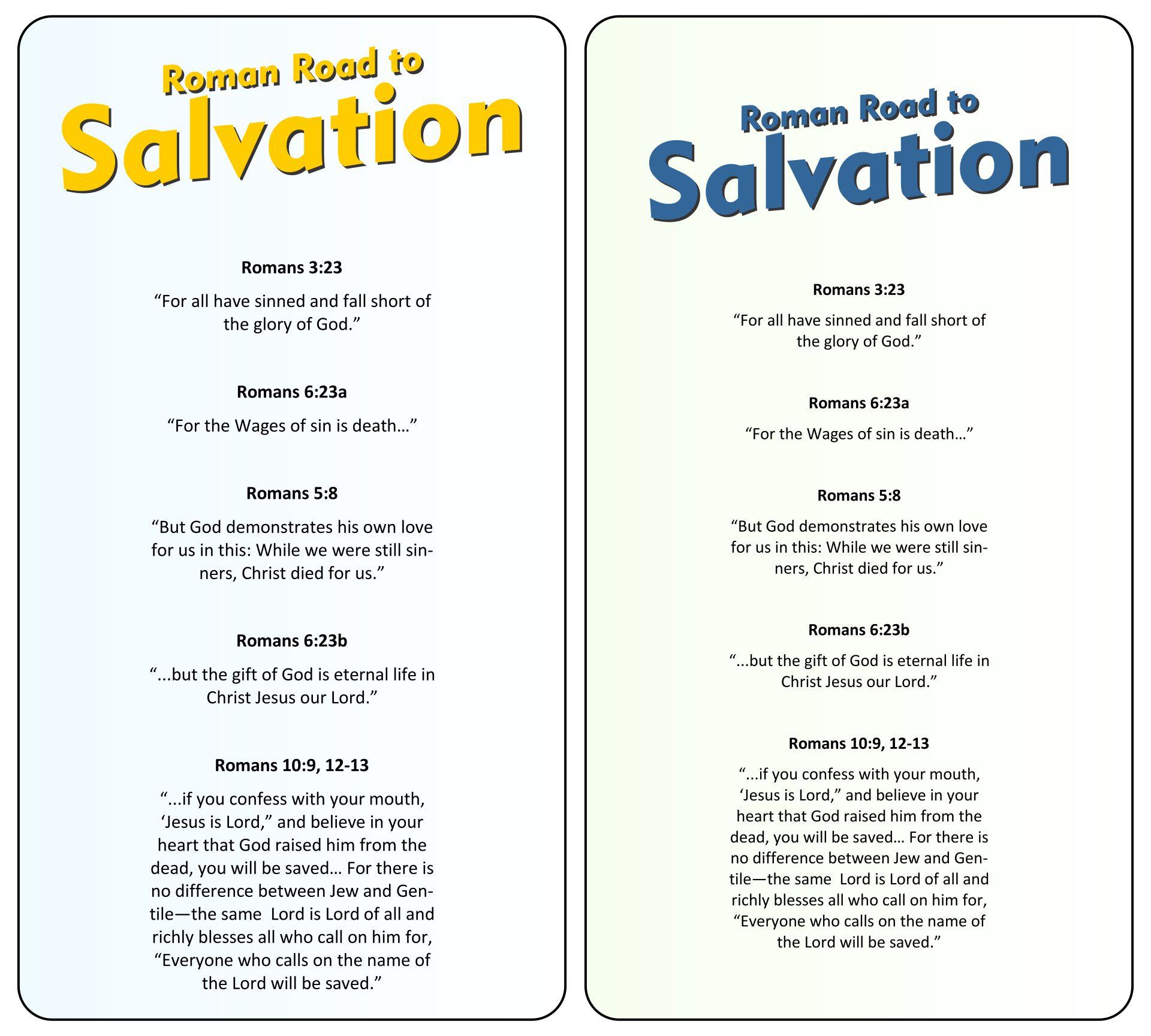 Roman Road To Salvation Bookmark Printable