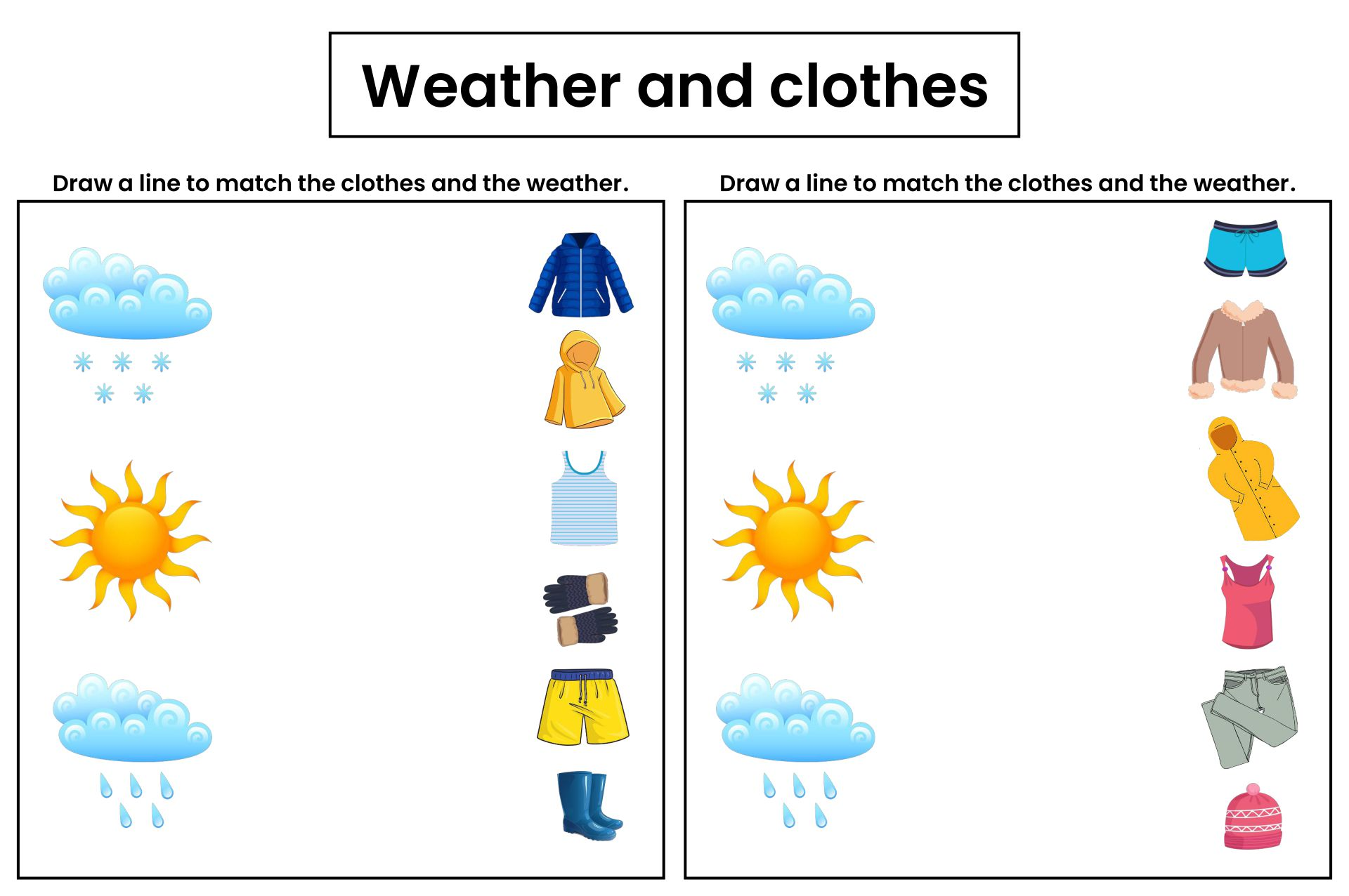 Seasons Weather And Clothes Worksheet Printables