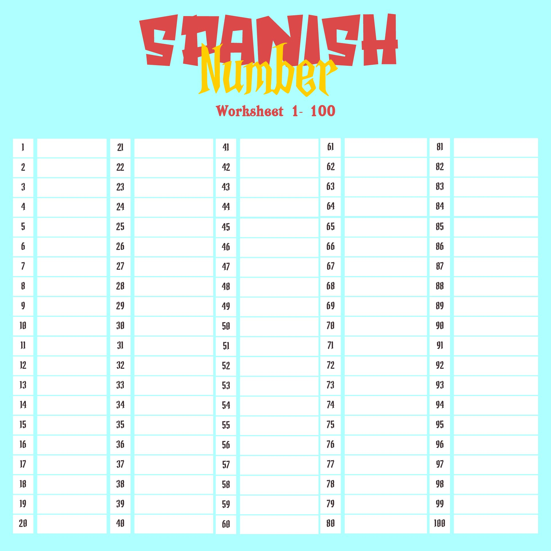 Spanish Numbers Worksheet 1-100 Pdf