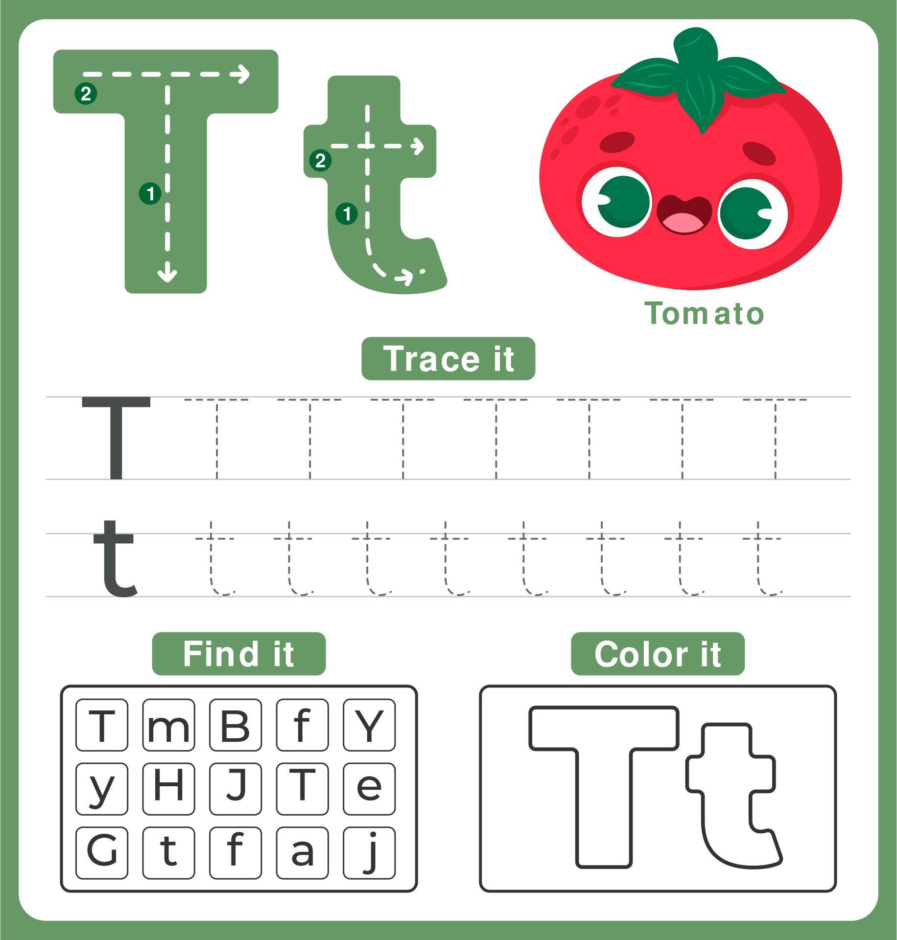 The Letter T Worksheets For Kindergarten