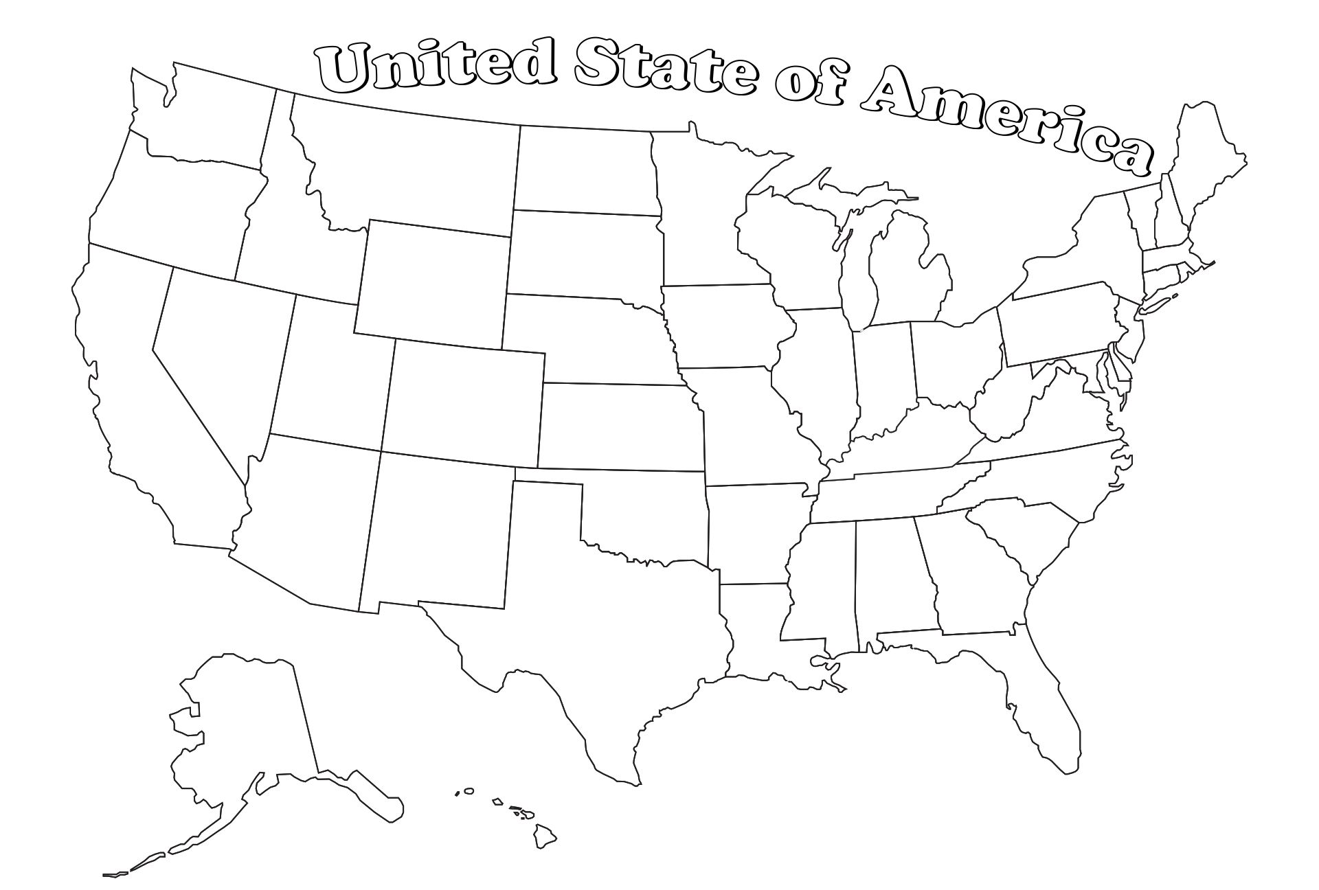 United States Coloring Map Printable