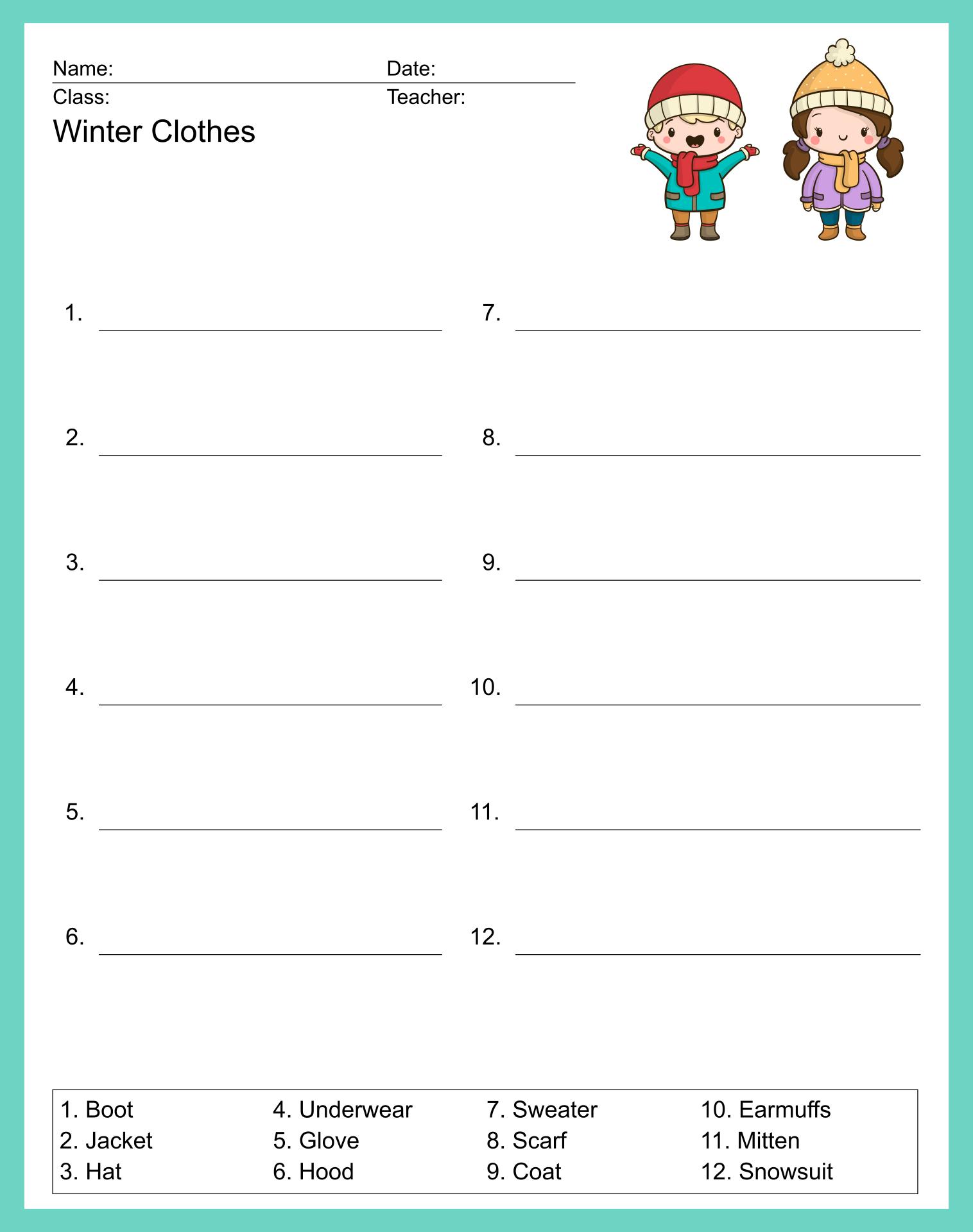 Winter Clothes Activities For Preschoolers