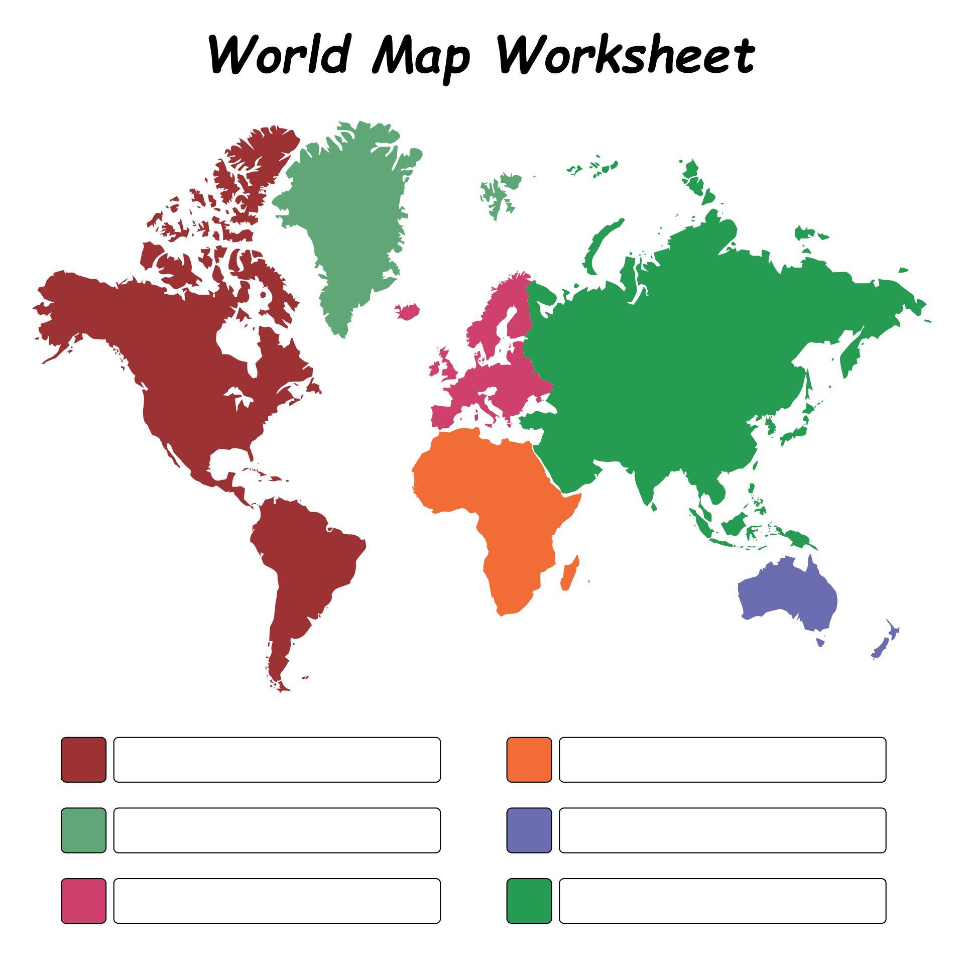 World Map Worksheet Pdf