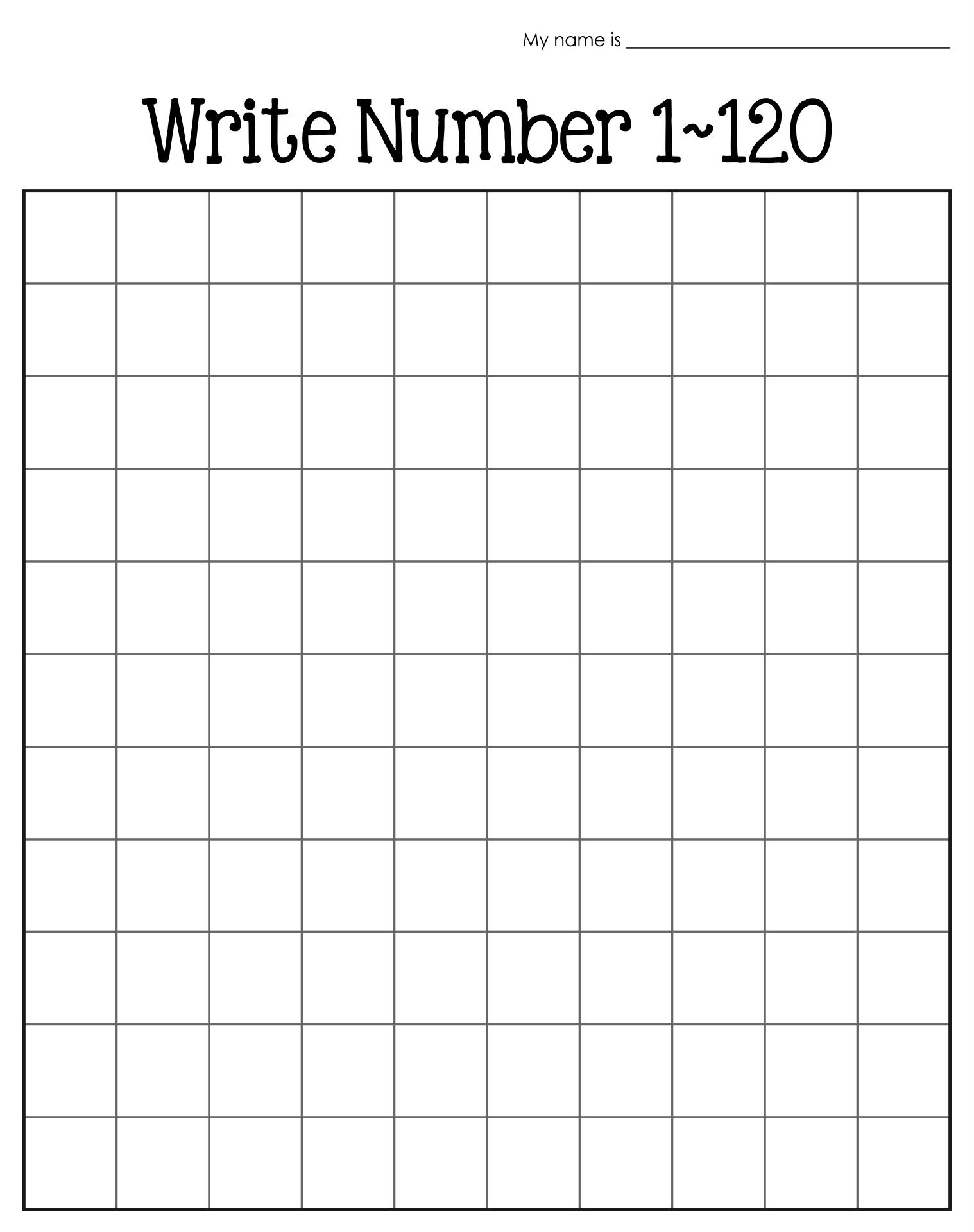 Writing Numbers 1-120 Worksheet