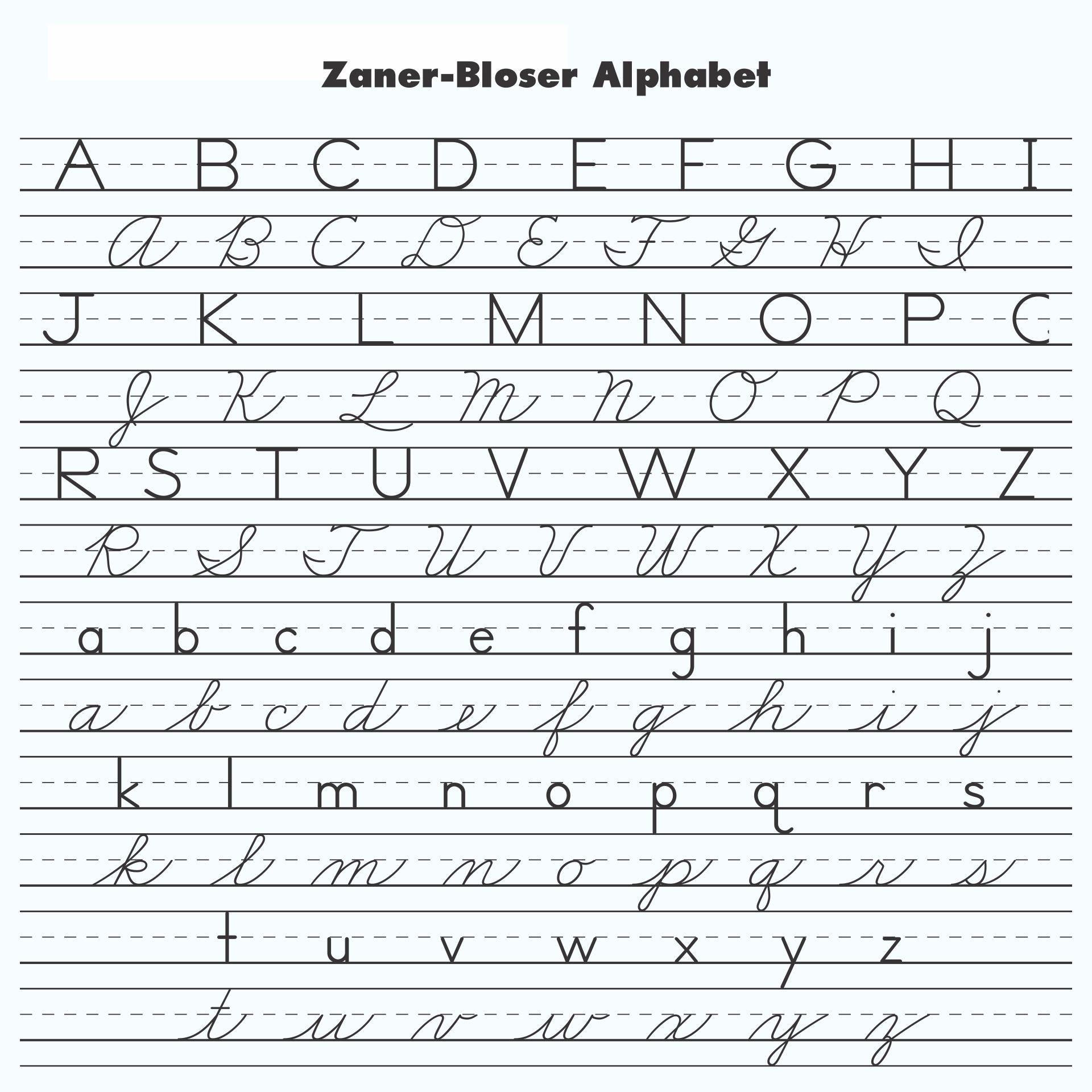 Zaner Bloser Handwriting Worksheets Free