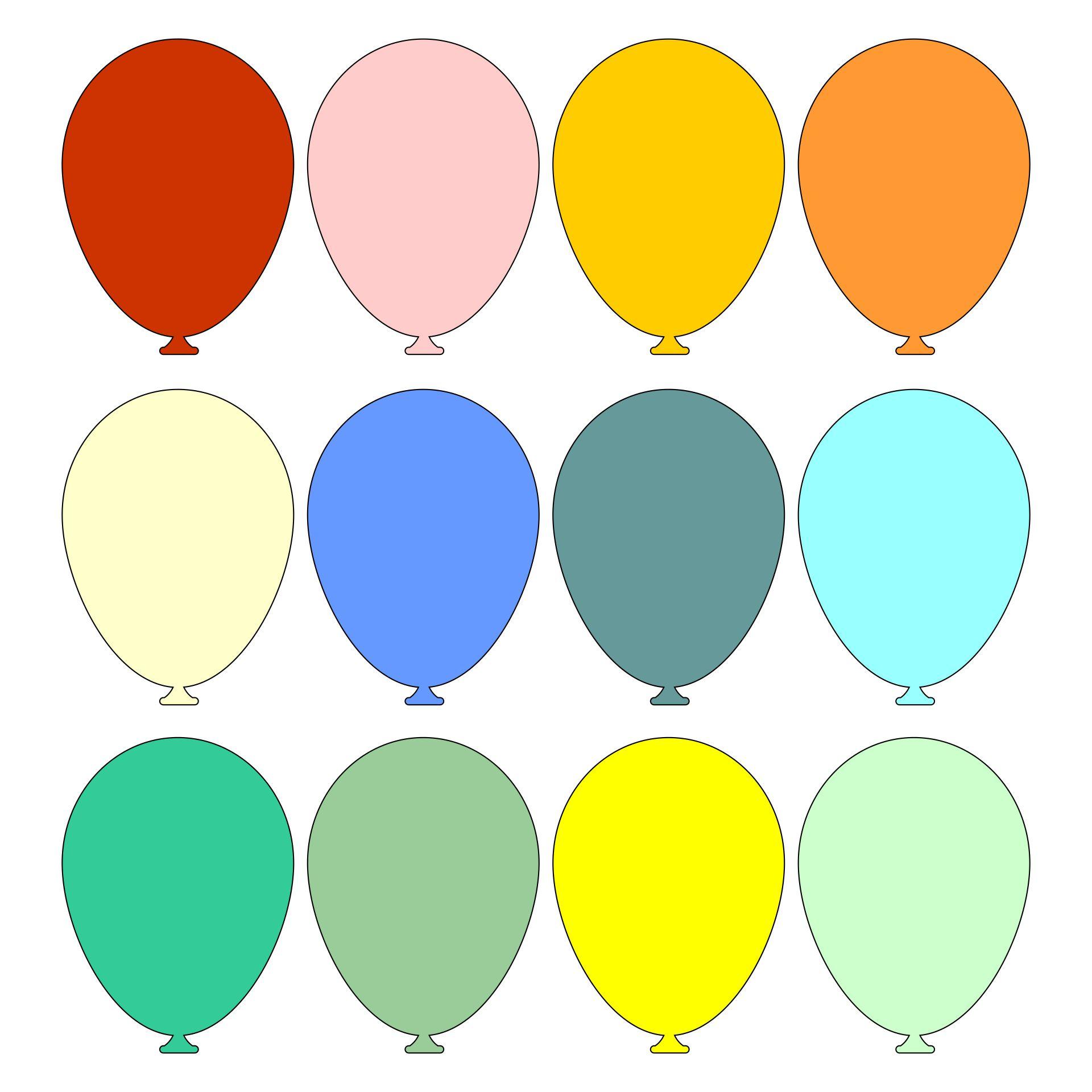 Coloured Balloon Template
