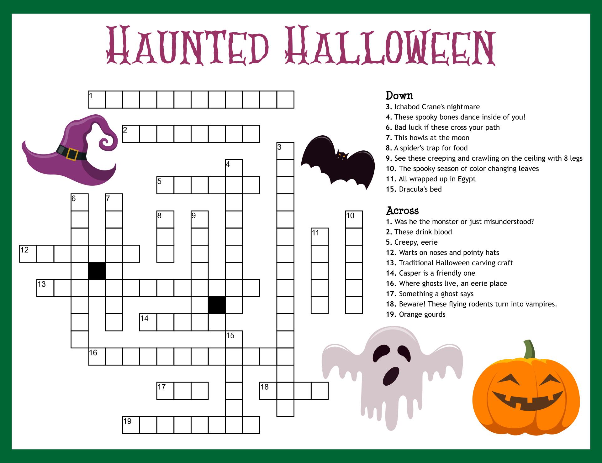 Crossword Puzzles For Halloween Printable