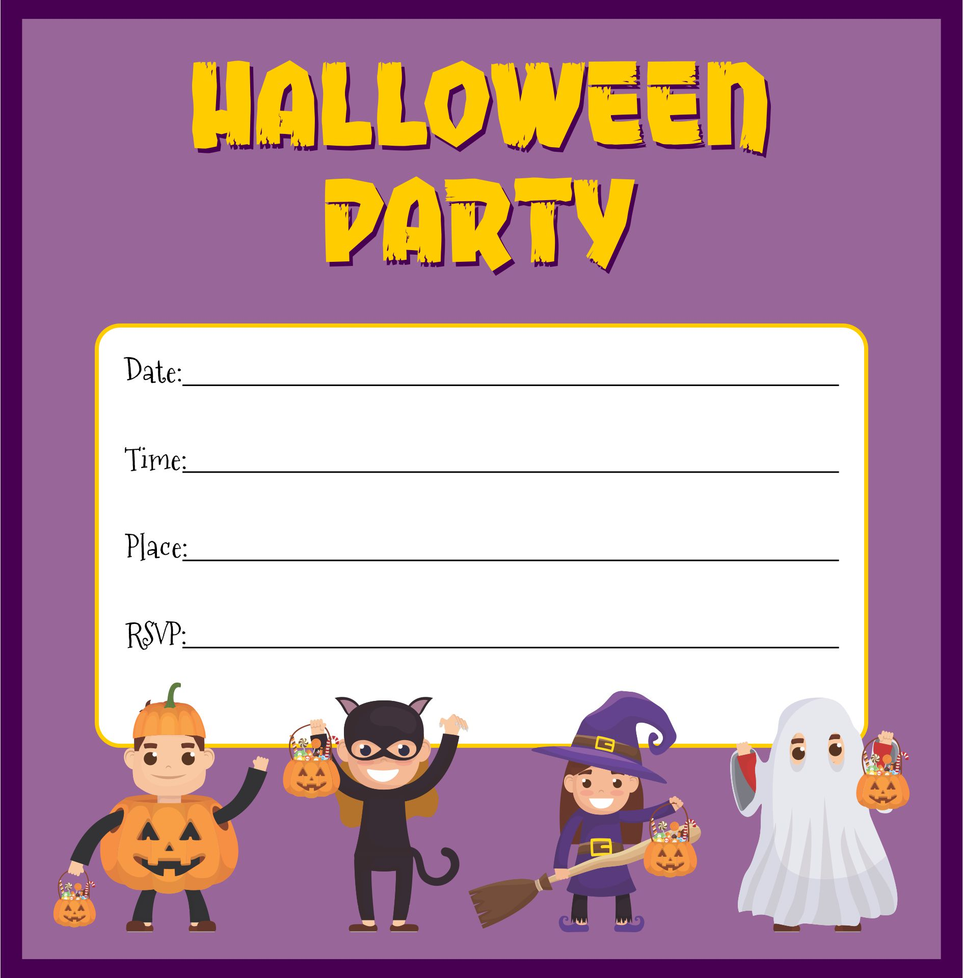 Cute Free Printable Halloween Invitations