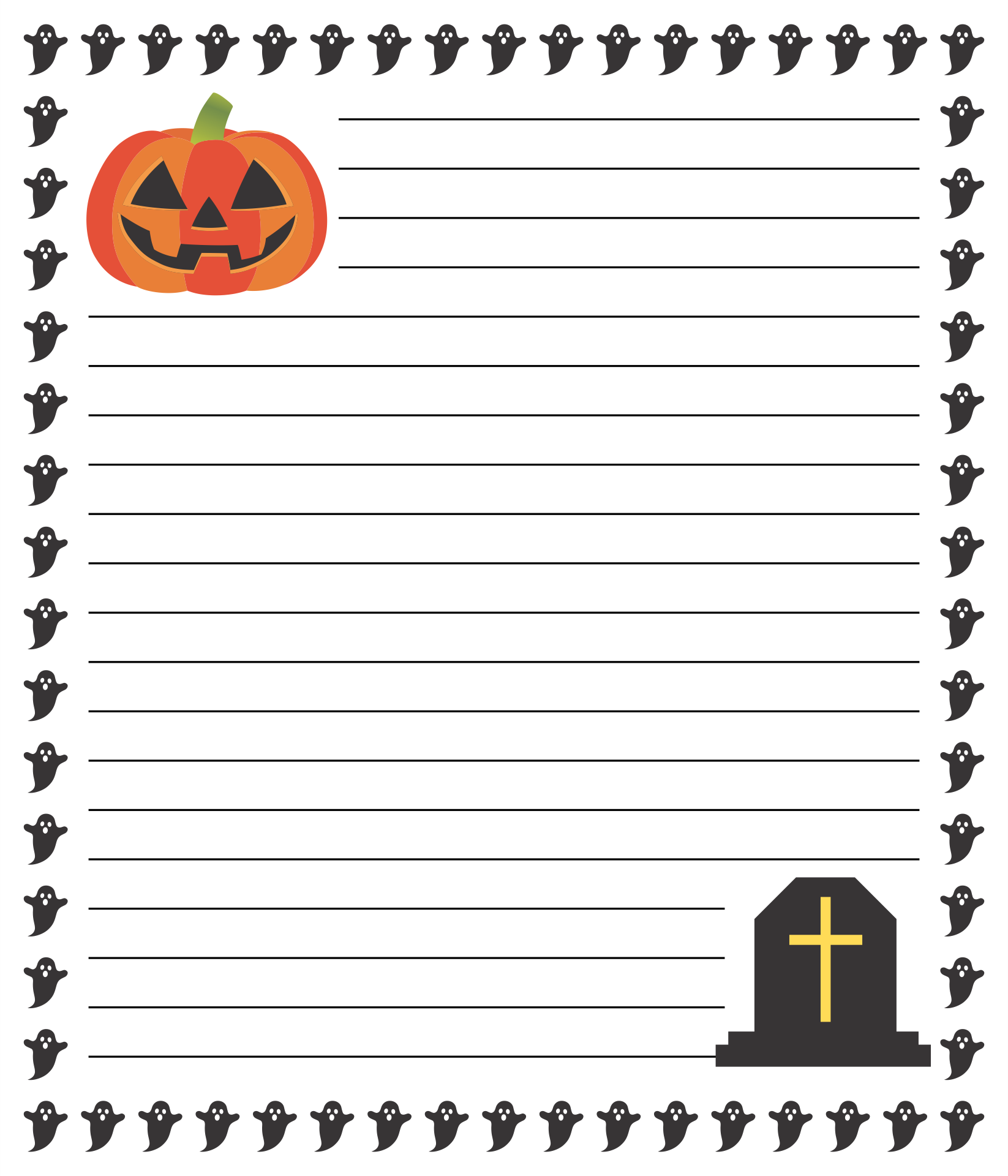 Halloween Border Lined Paper