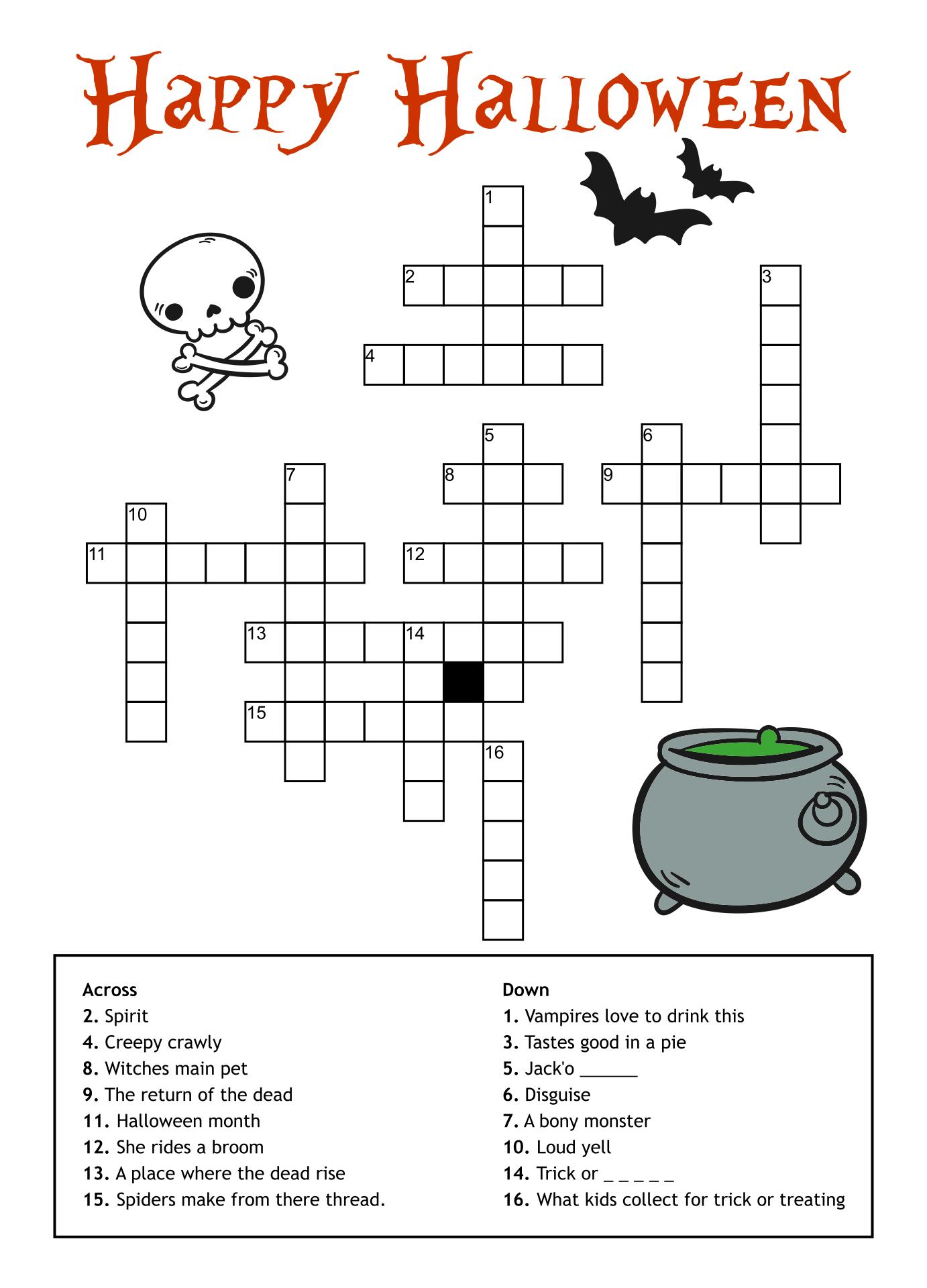 Halloween Crossword Puzzles Printable