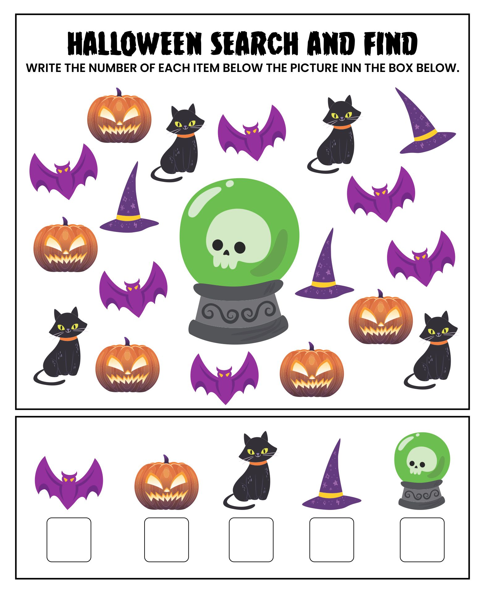 Halloween Searches Seek And Find Math Activity
