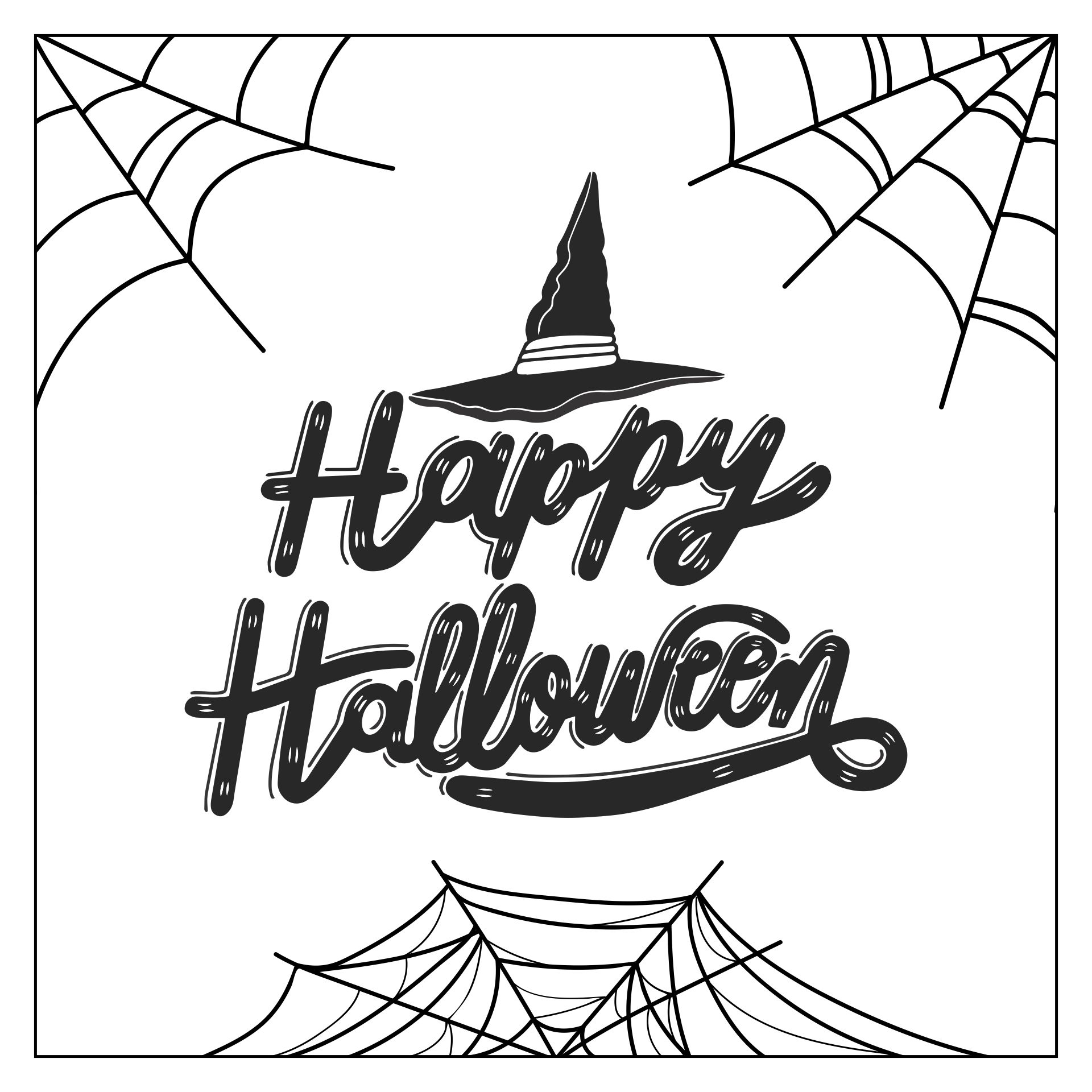 Happy Halloween Sign Black And White