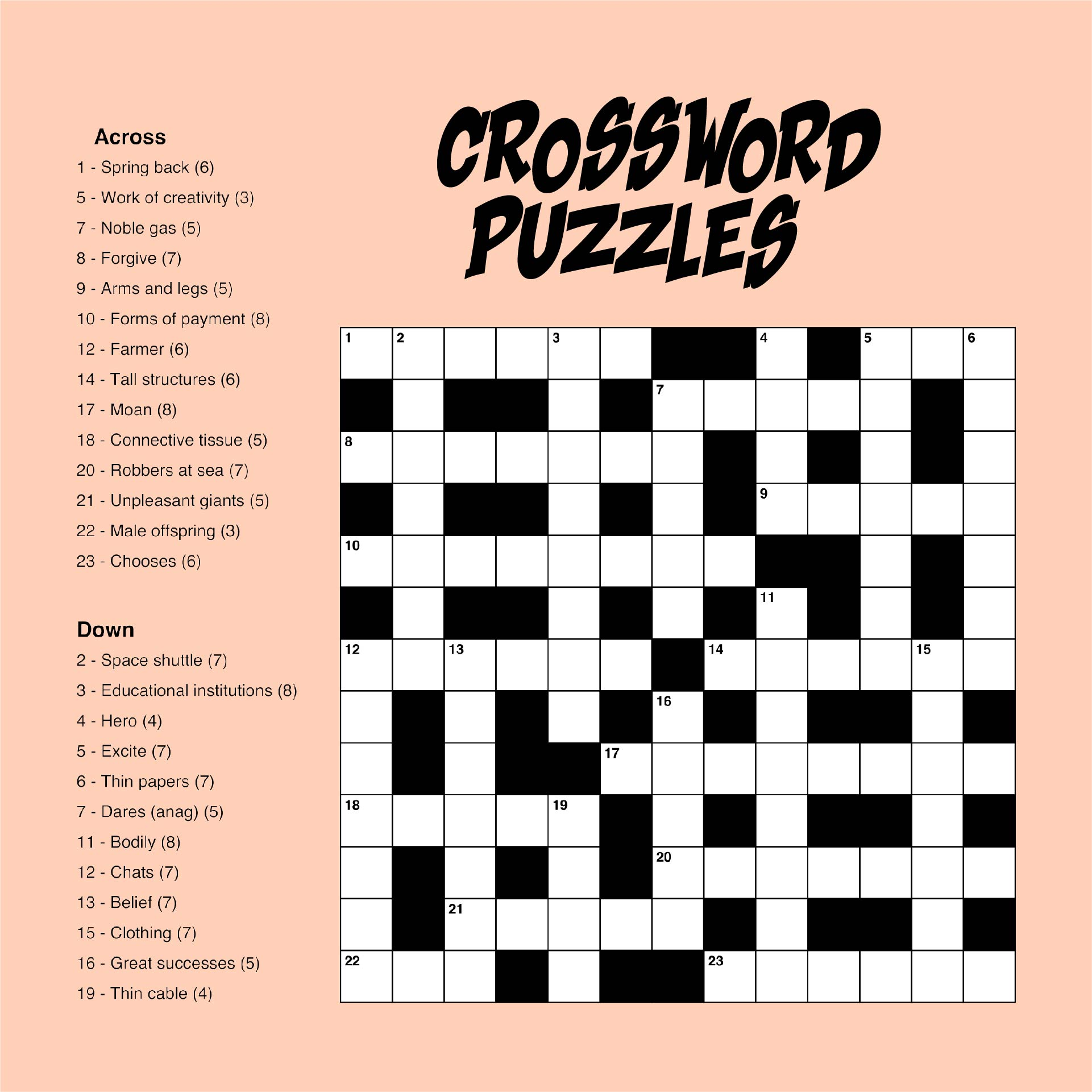 Large Print Difficult Crossword Puzzles Printable