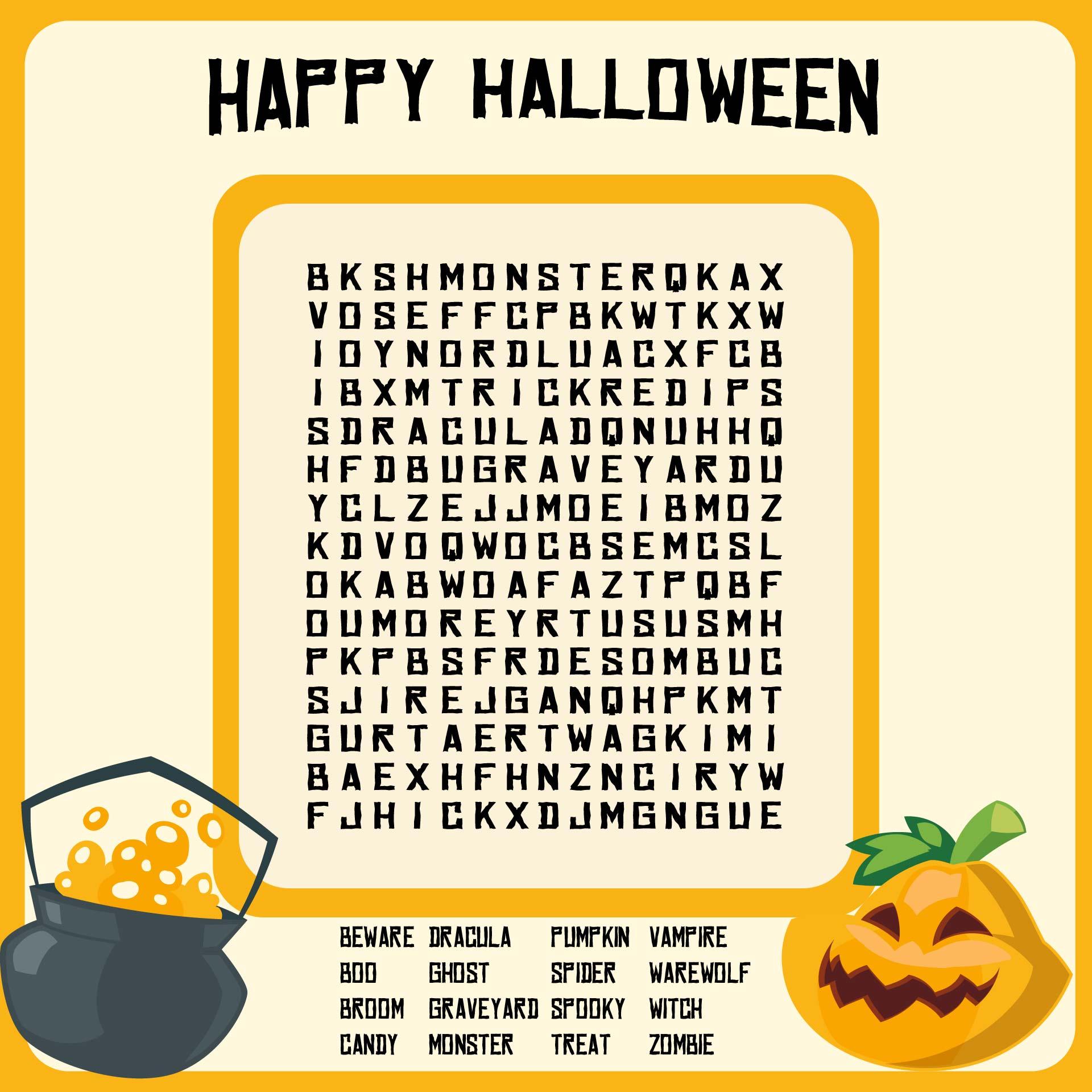 Large Print Halloween Word Search Printable