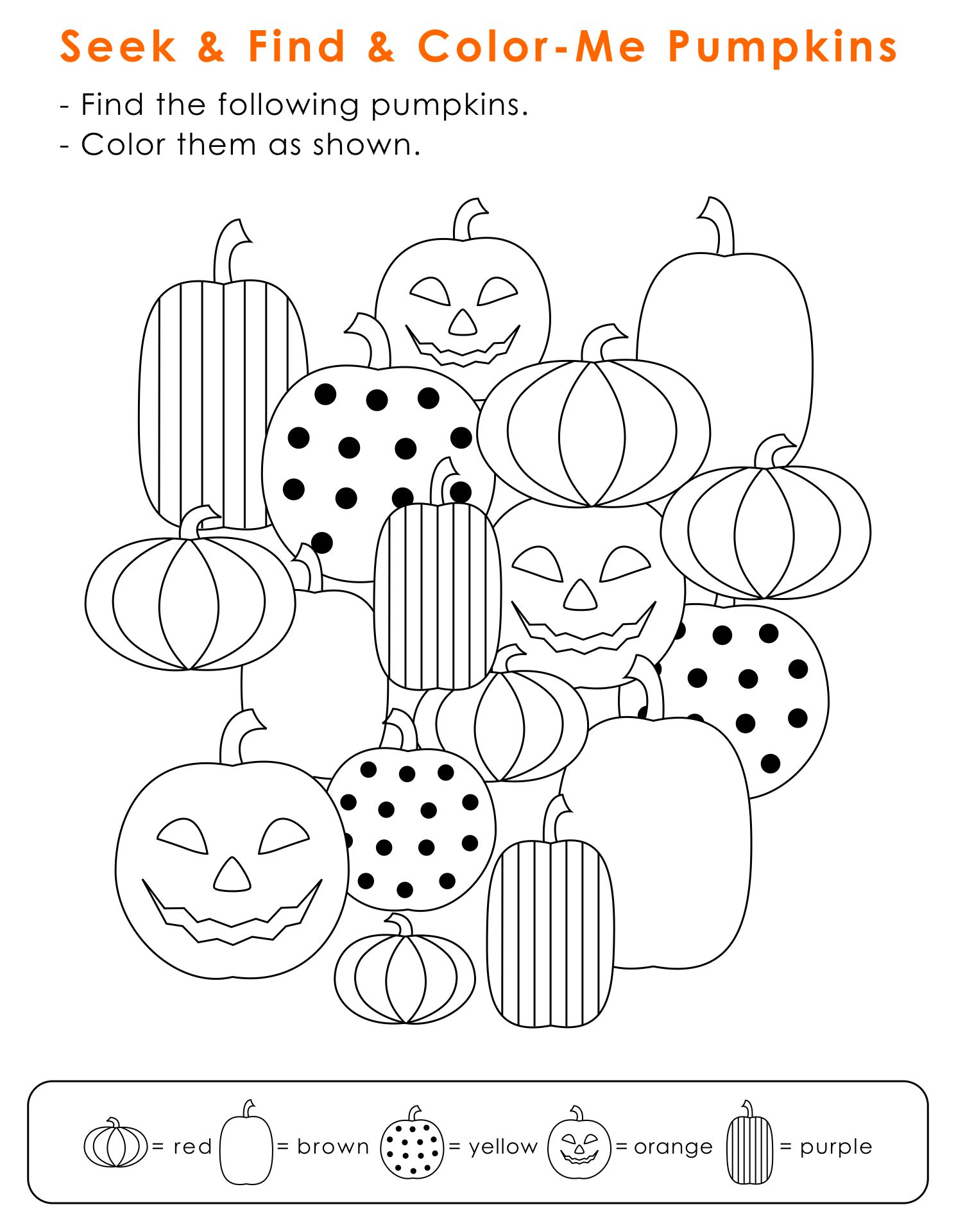 Seek And Find And Color Me Pumpkins For Halloween