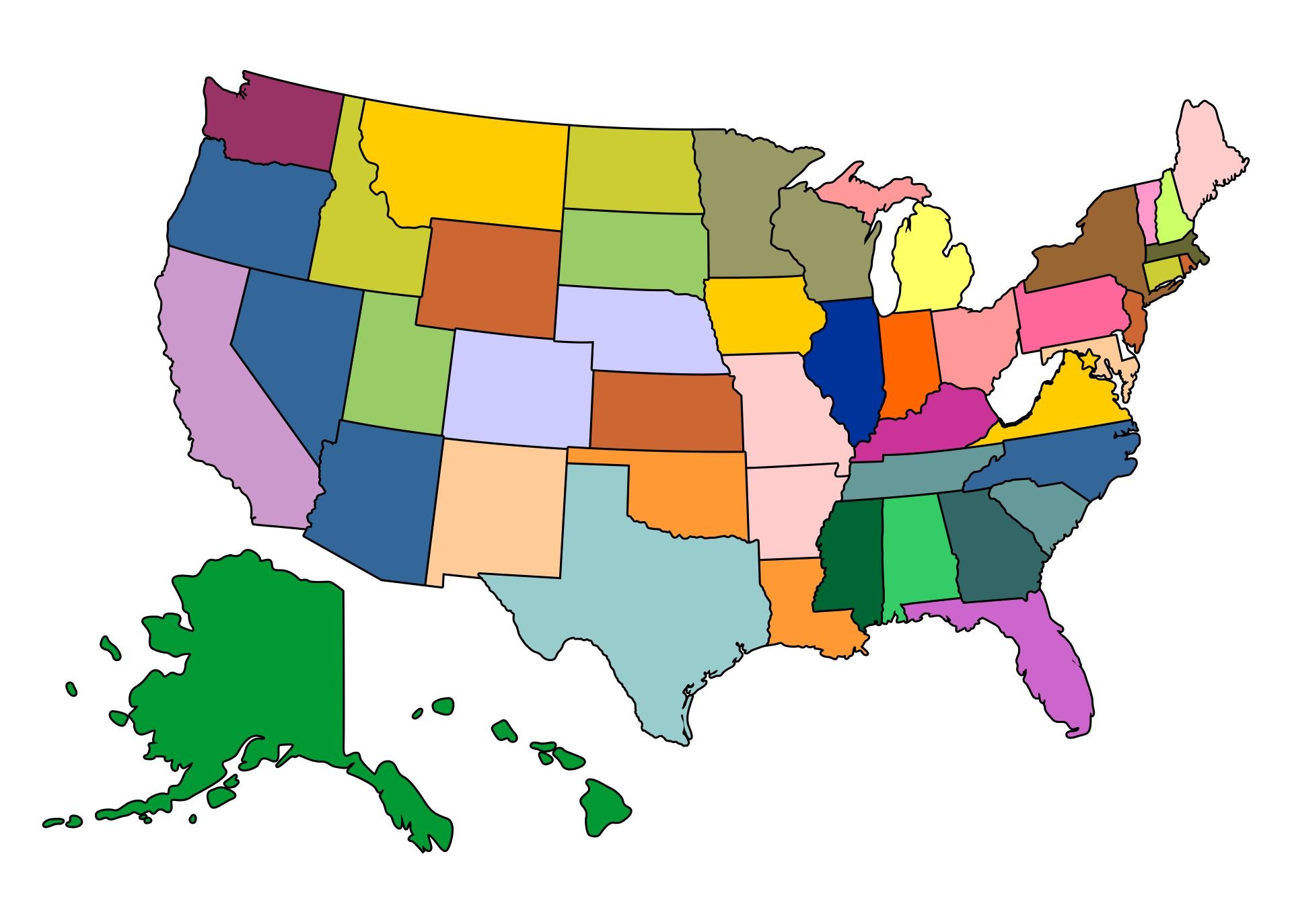 Colored Map Of The United States Printable