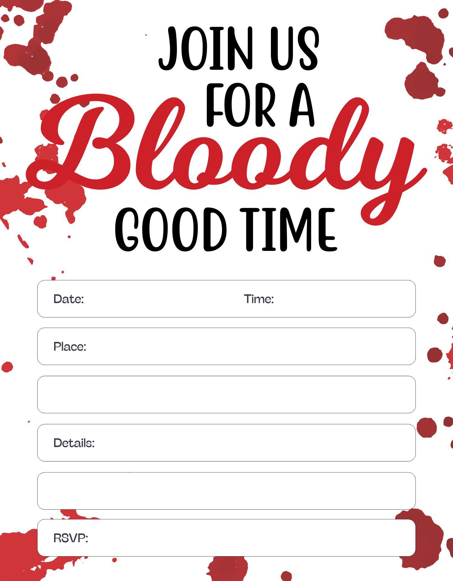 5x7 Printable Blood Splatter Halloween Party Invitation