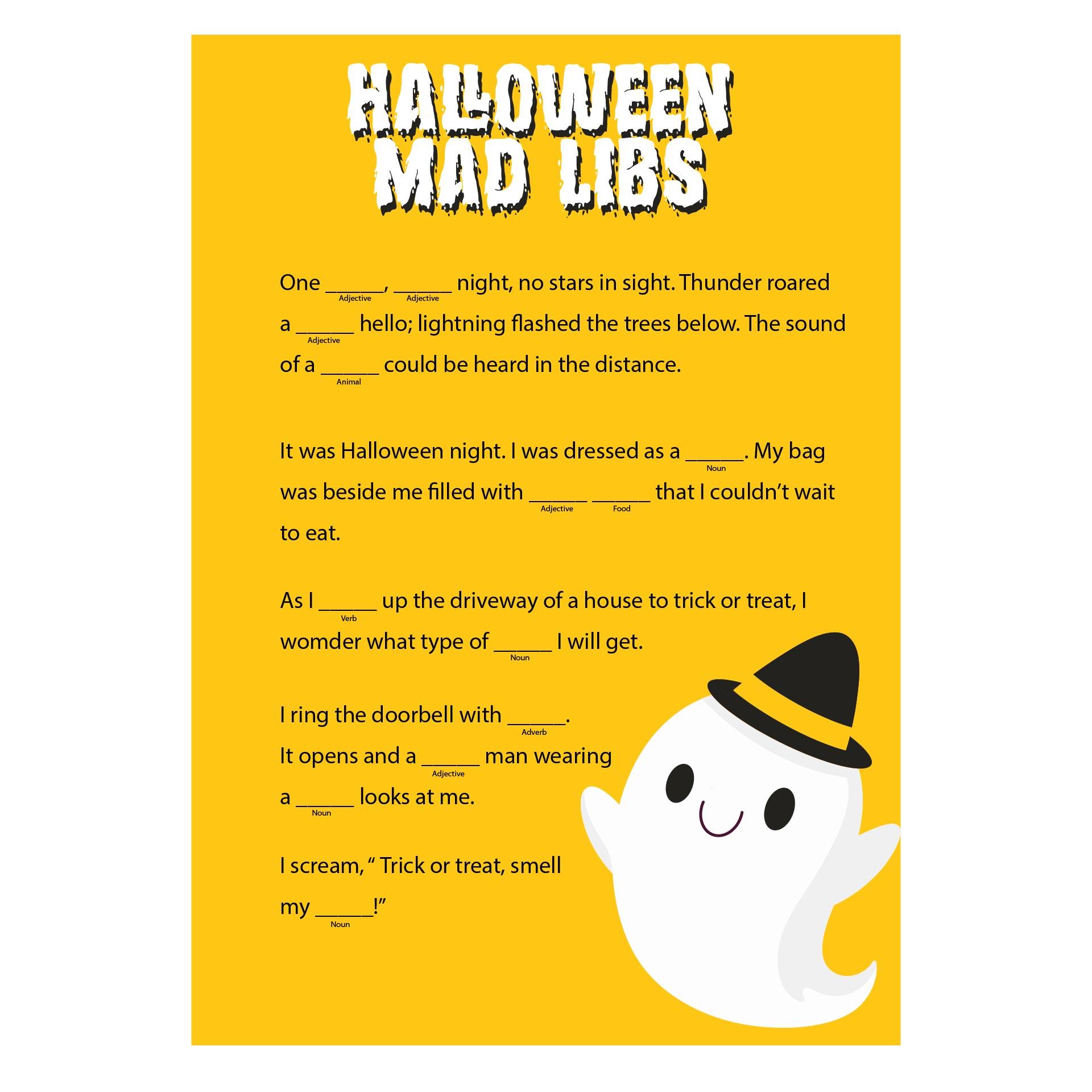 Best Halloween Costume Contest Mad Lib