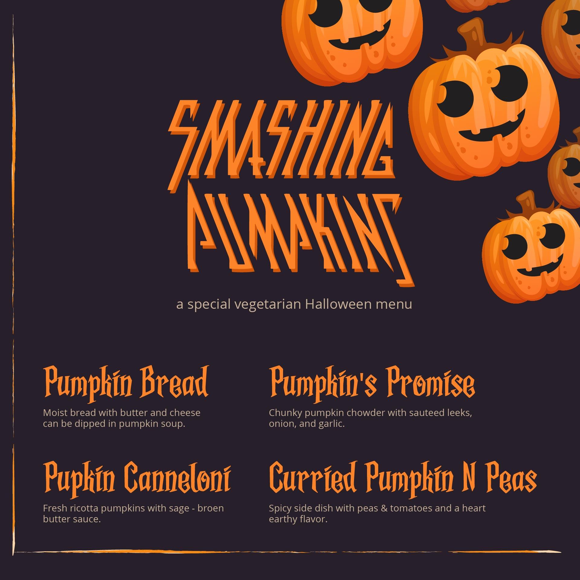 Black And Orange Halloween Menu Template