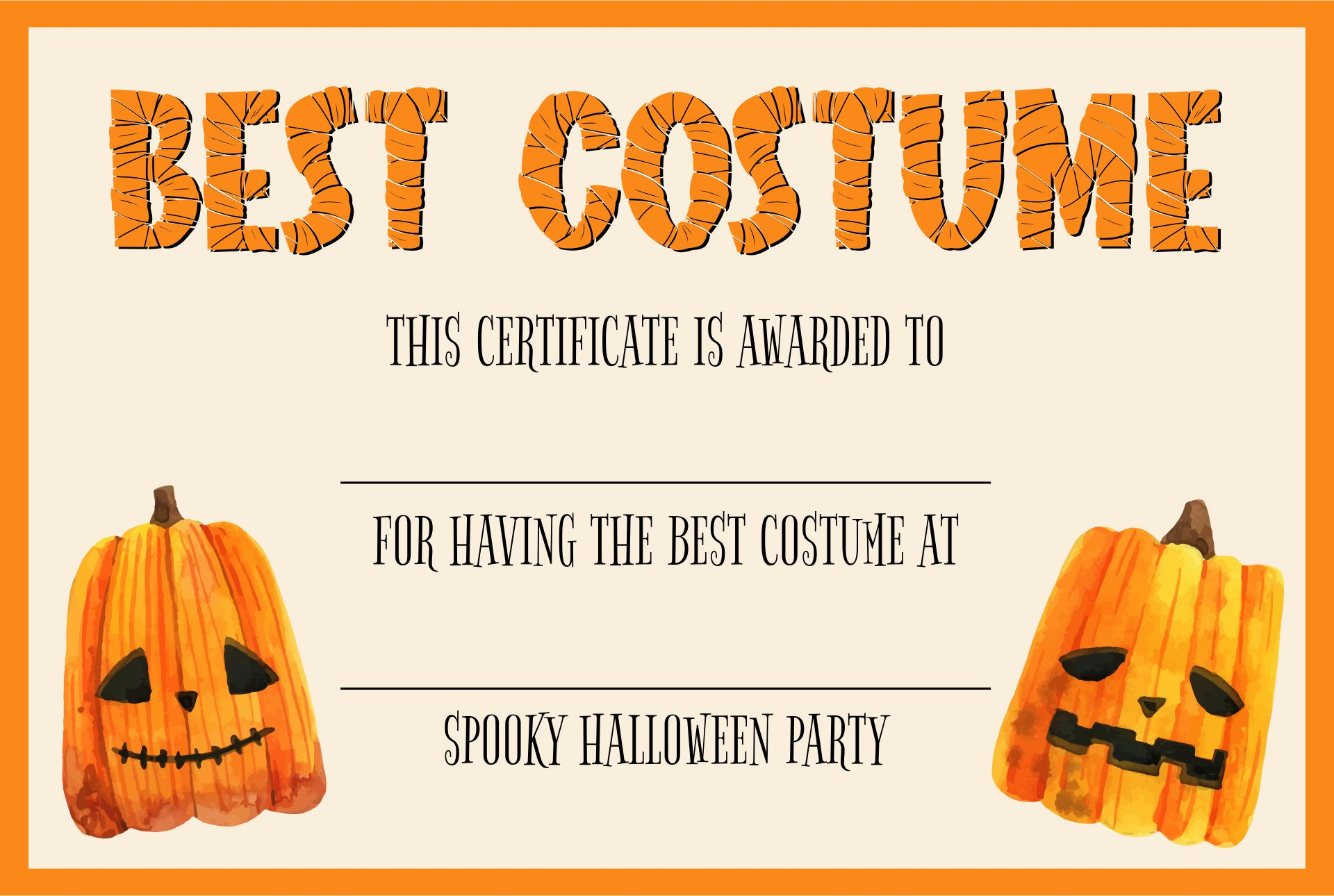 Costume Contest Certificates For Halloween With Clip Art