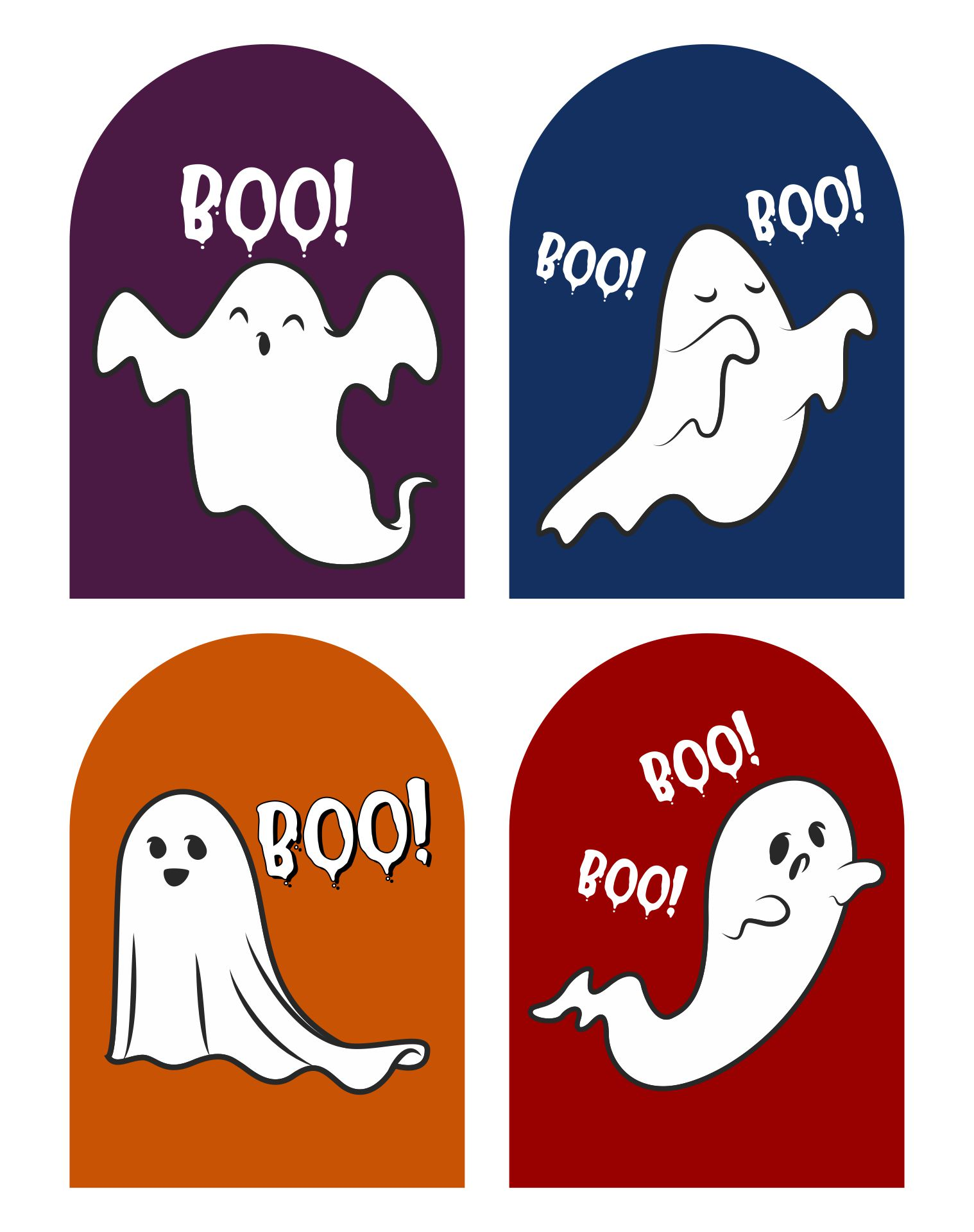 Cute Hand Drawn Doodle Ghosts Printable Tags