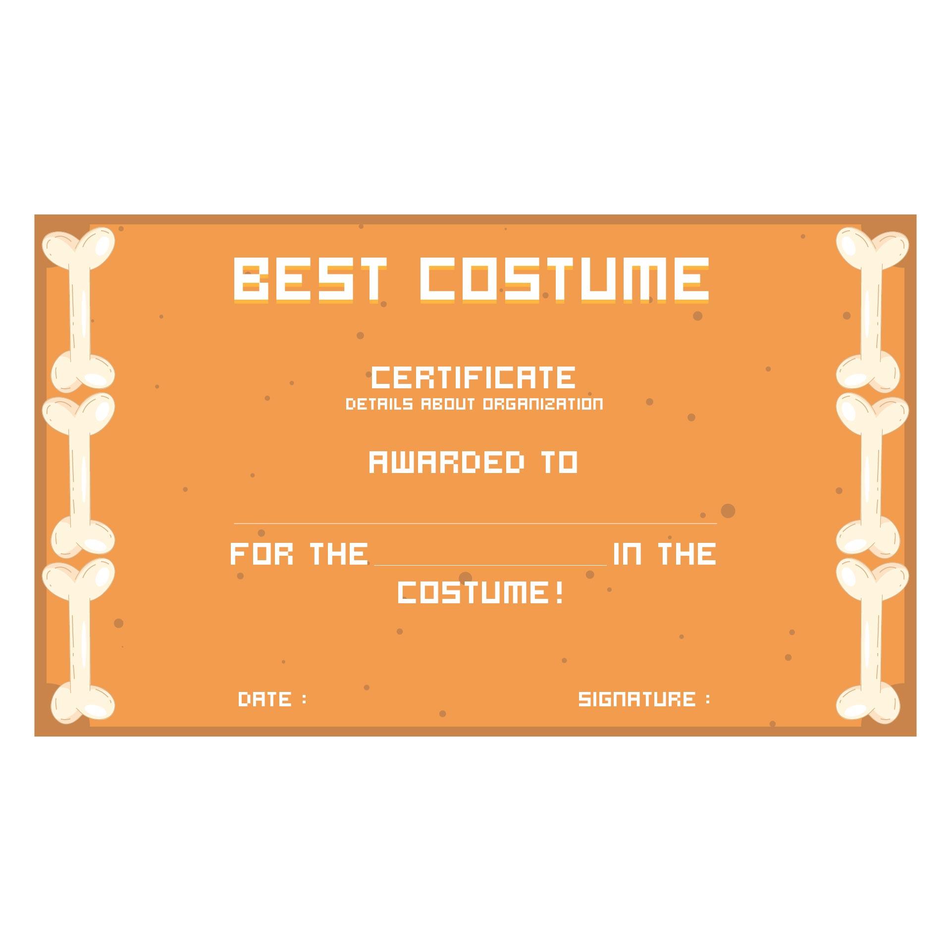 Cutest Halloween Costume Certificate Template