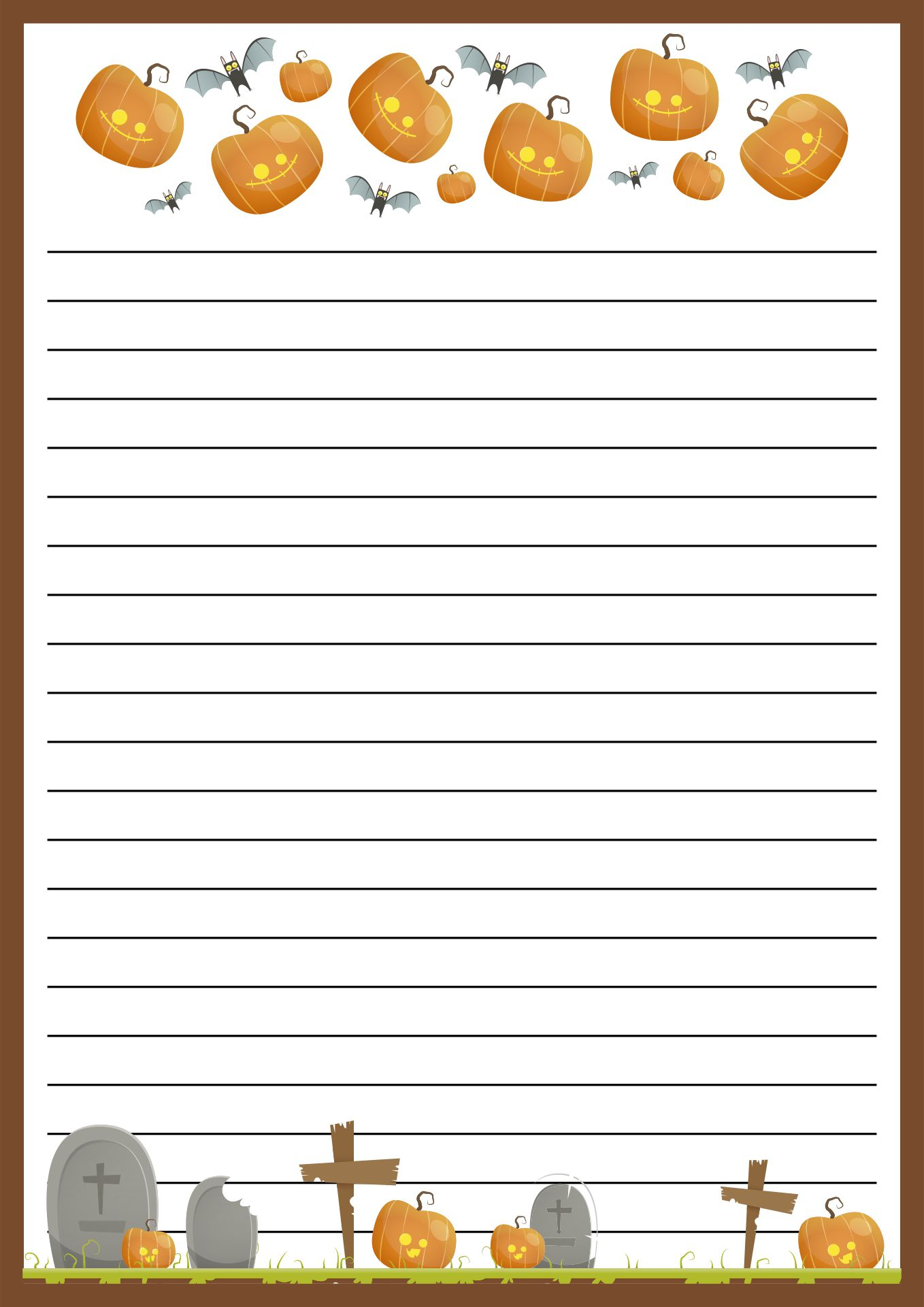 Decorative Printable Lined October  Paper