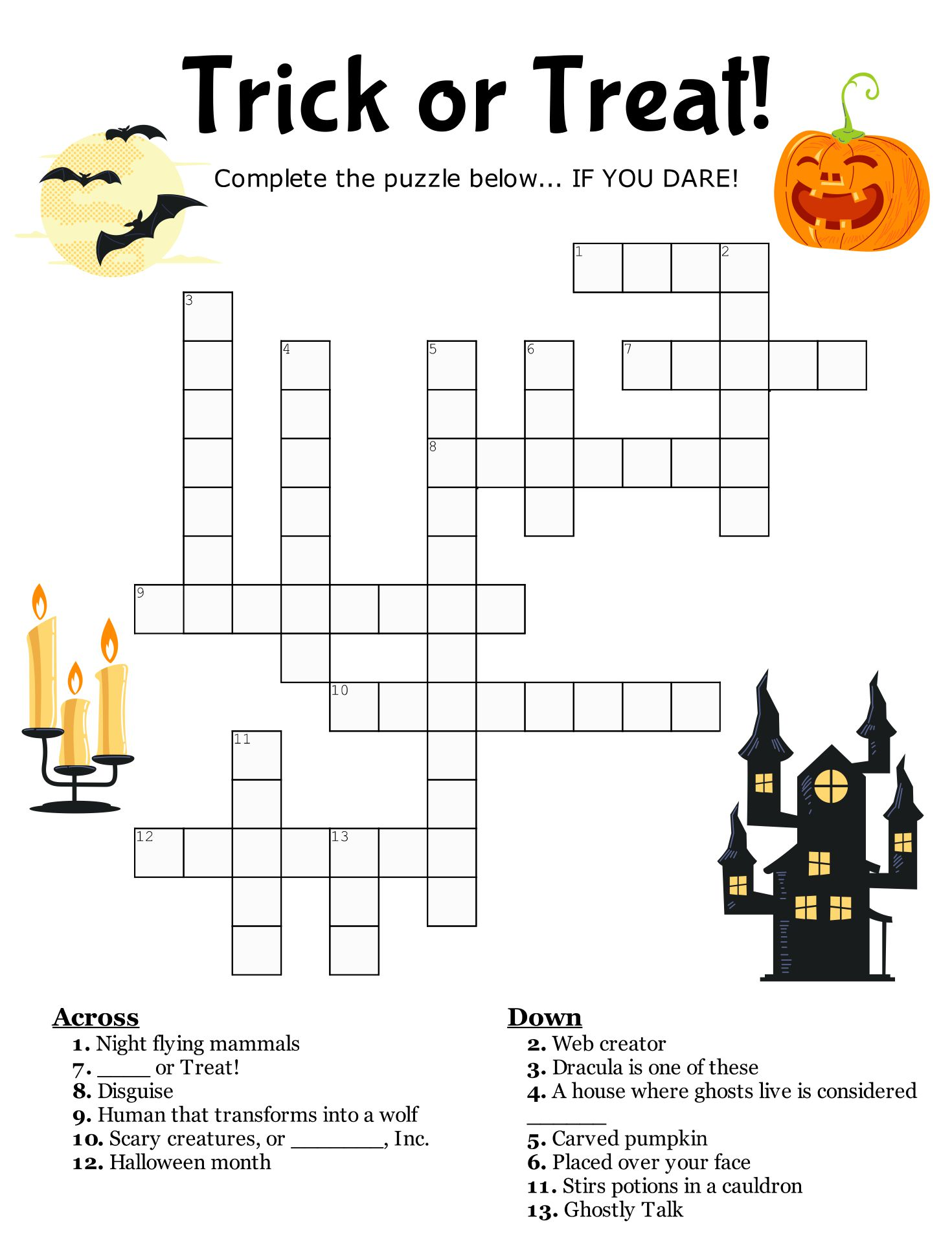 Free 6th Grade Halloween Worksheets