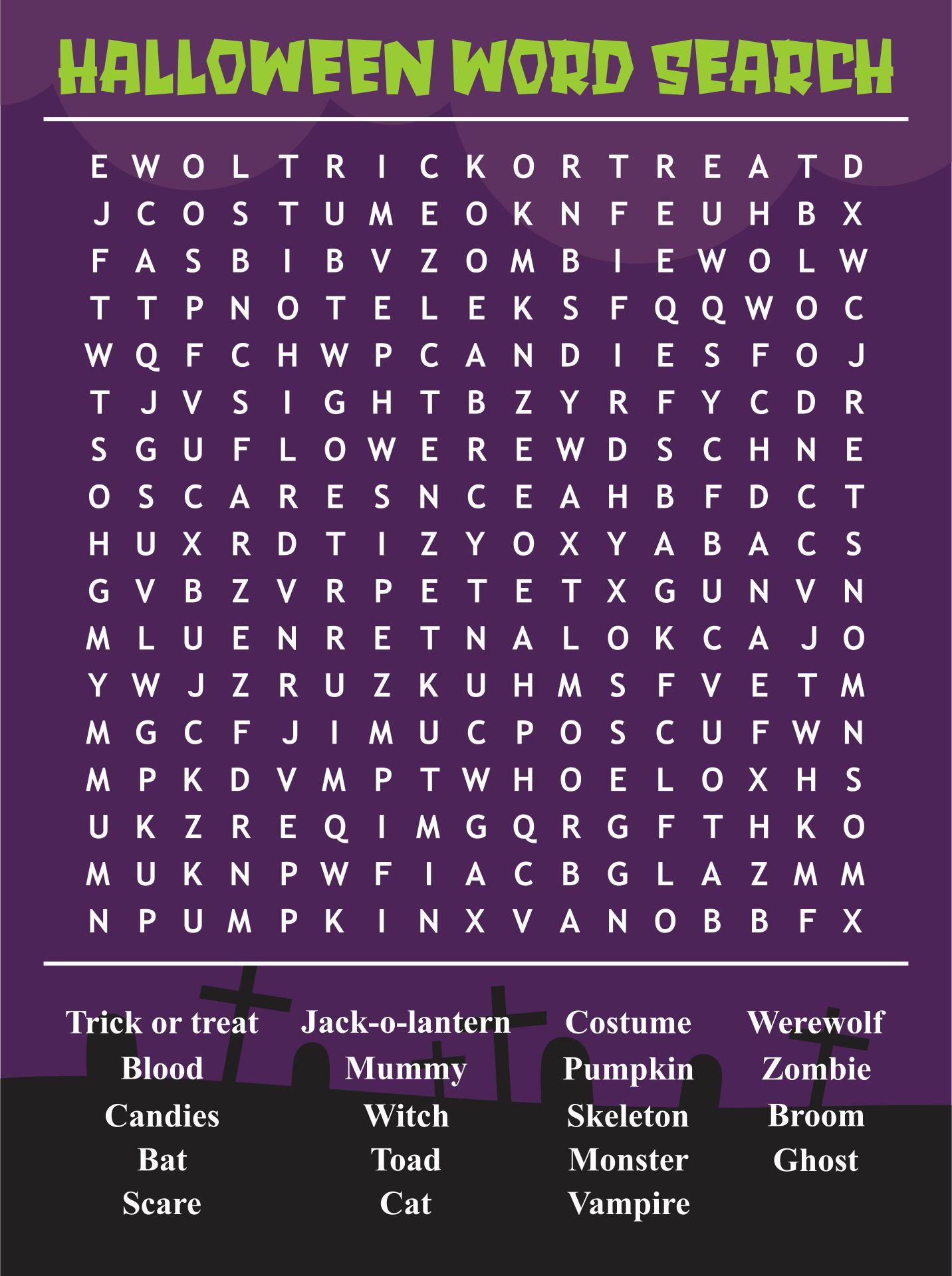 Free Halloween Word Search Printable For Kids