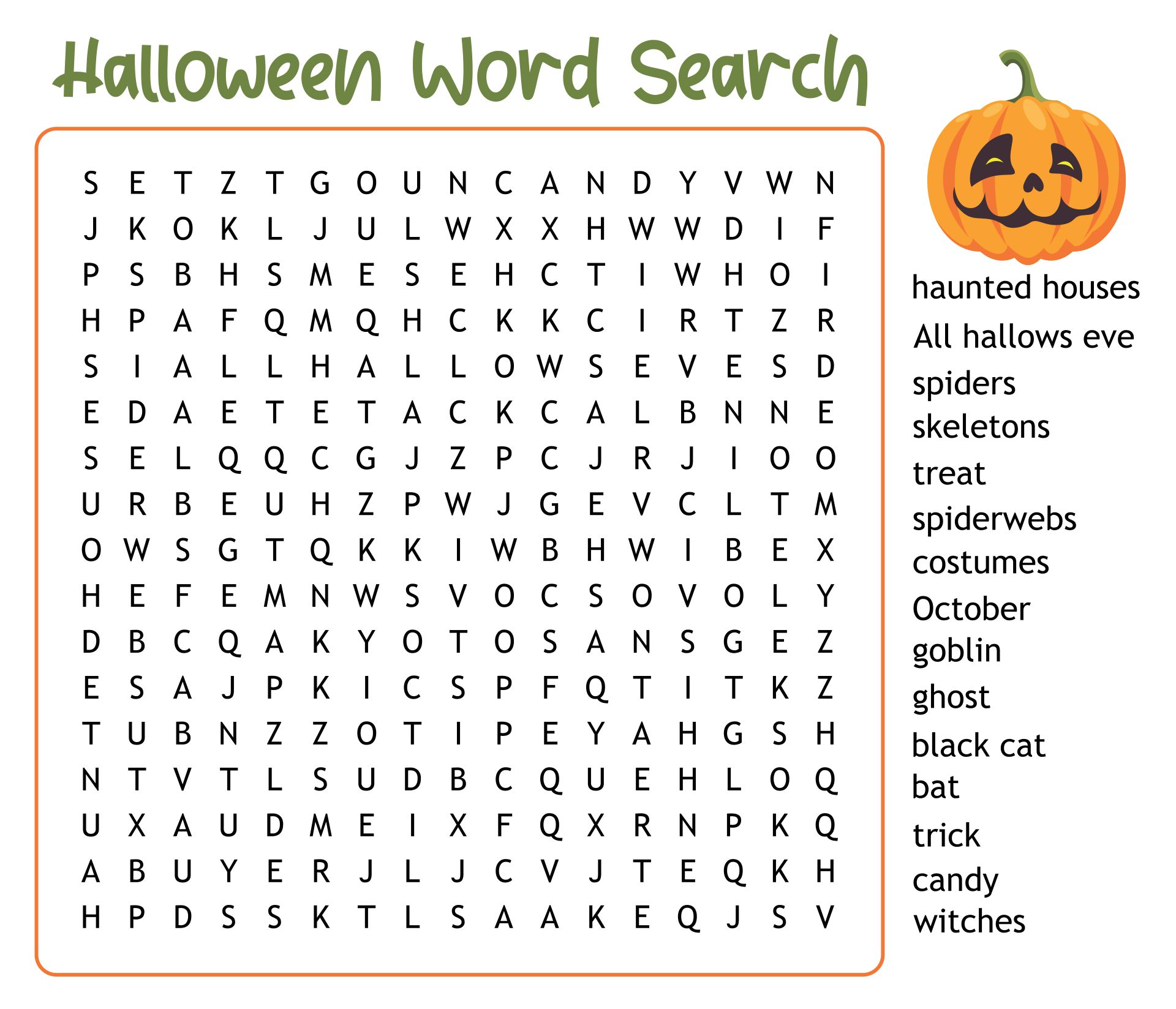 Free Halloween Word Search Printable Pages