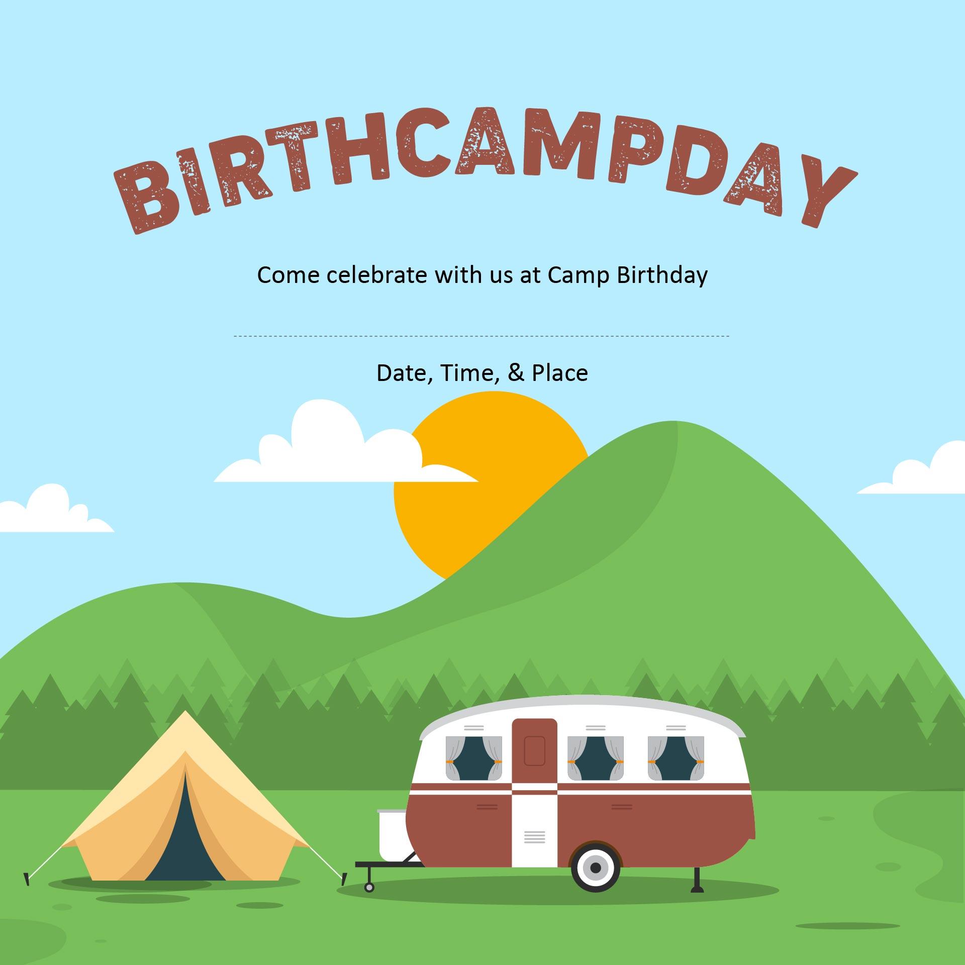 Free Printable Camping Themed Birthday Invitations