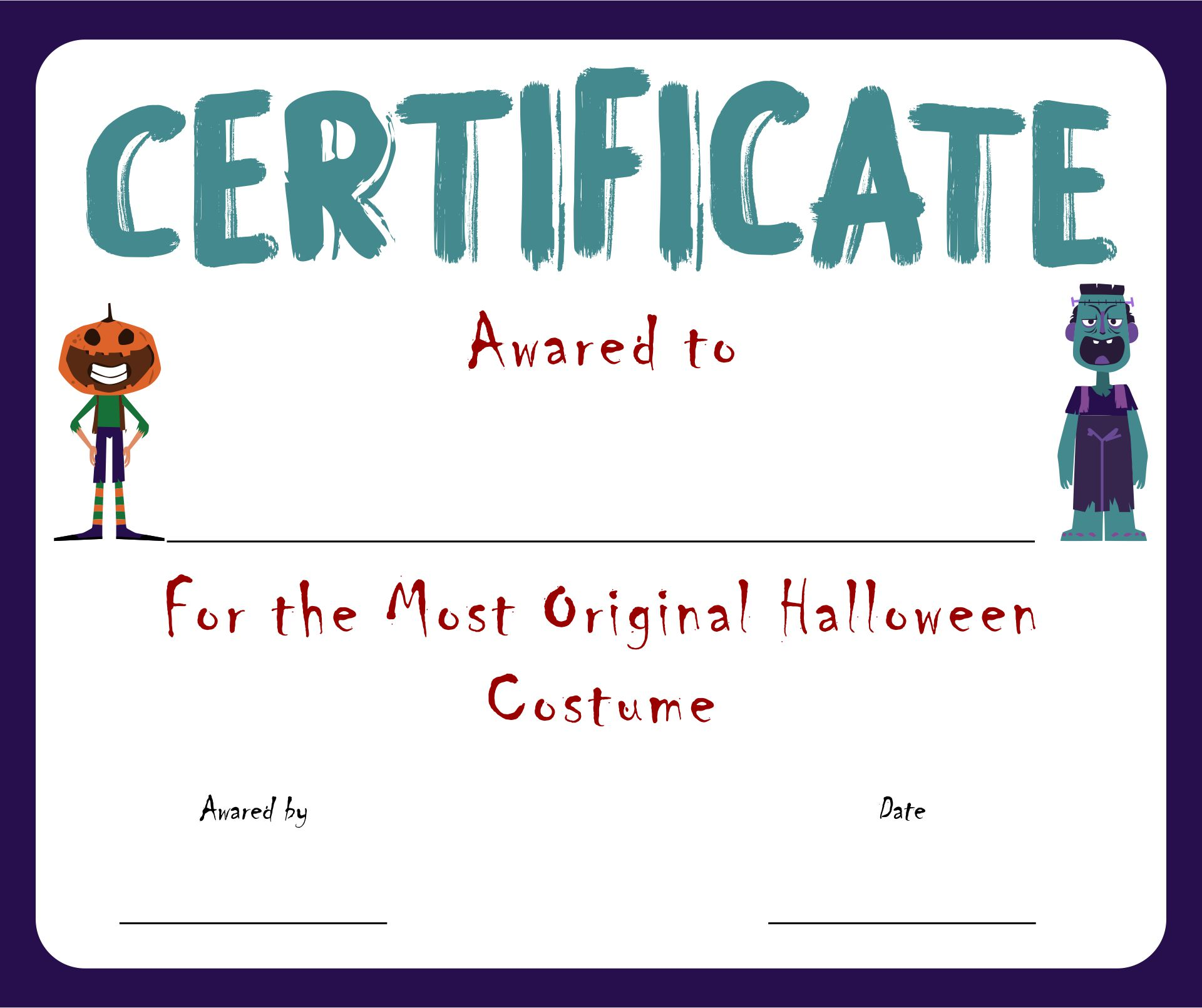 Free Printable Costume Contest Certificate