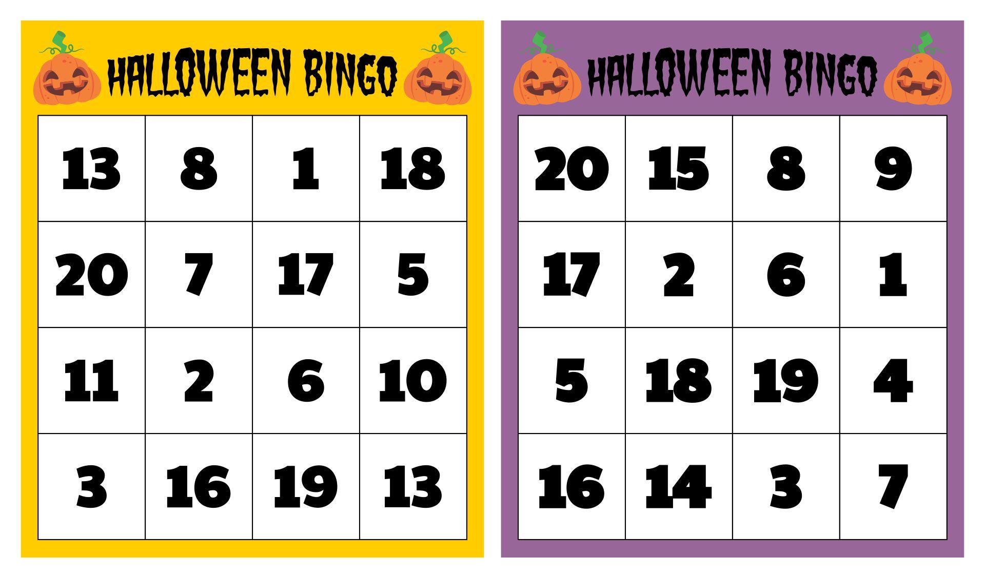 Free Printable Halloween Bingo Cards With Numbers