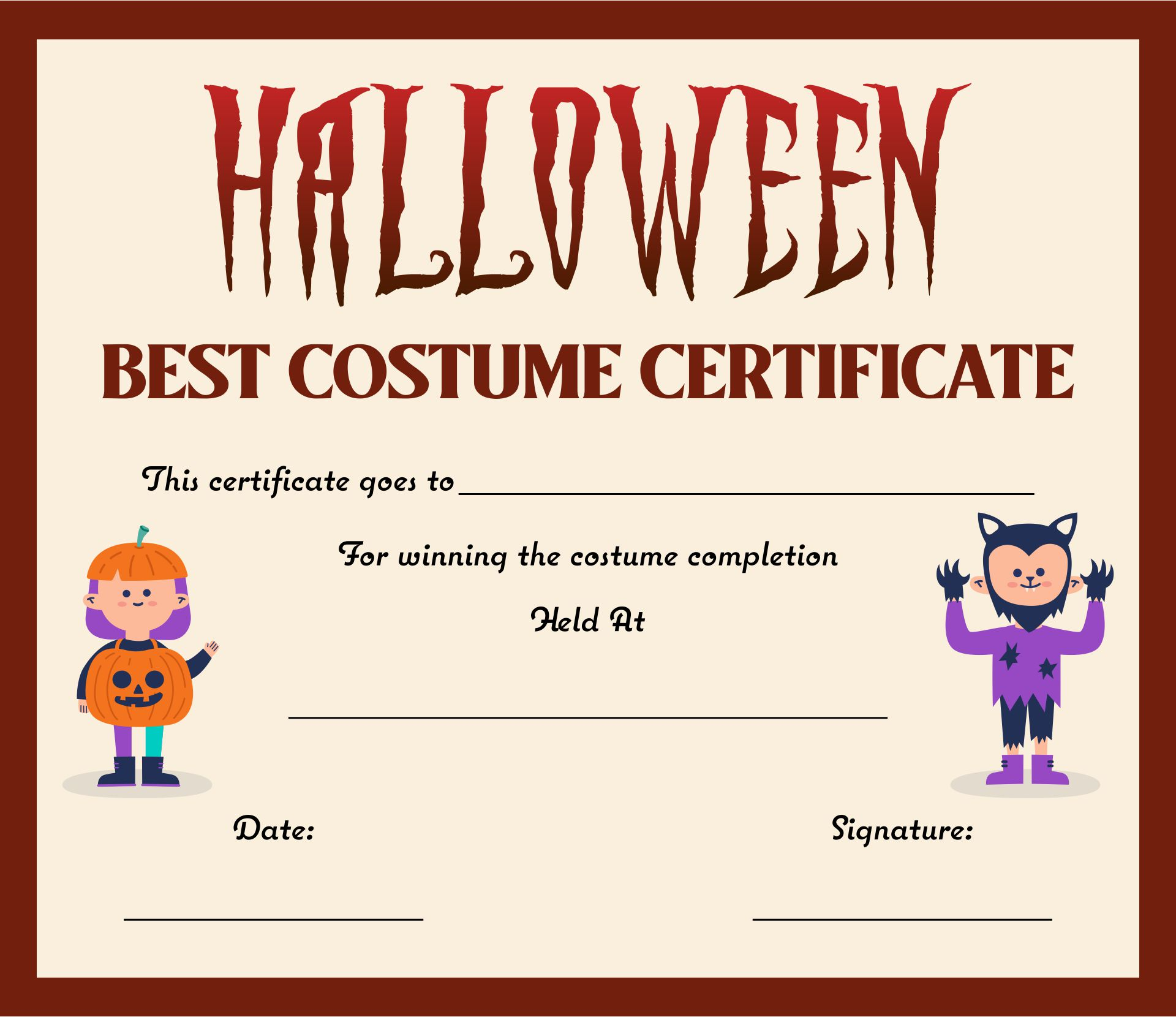 Free Printable Halloween Costume Award Certificates