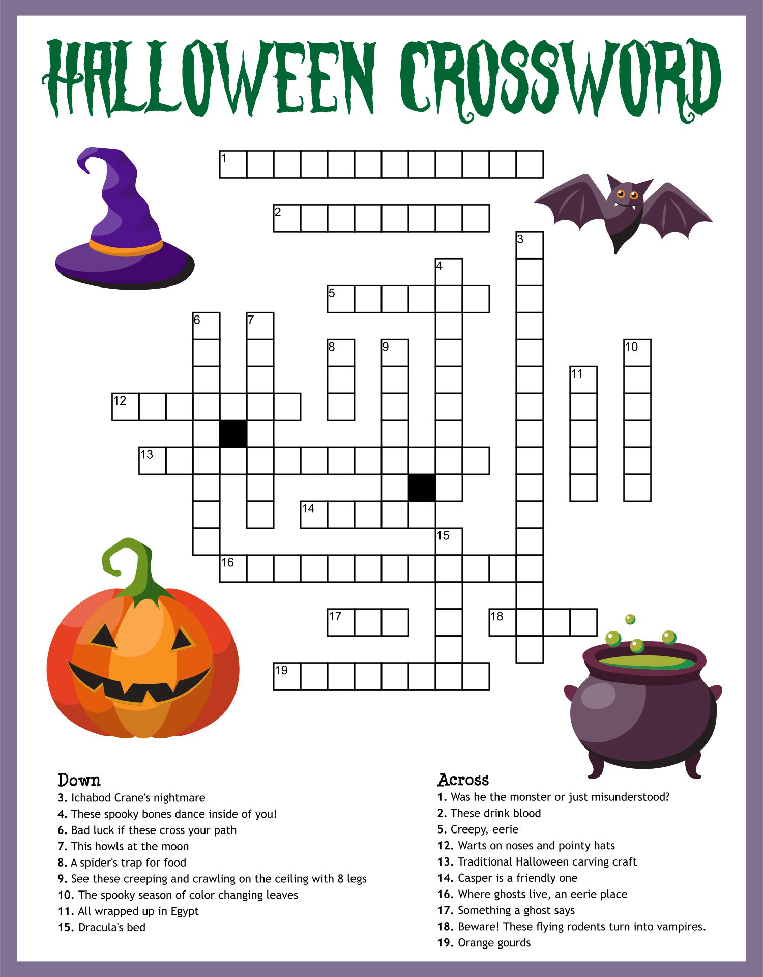 Free Printable Halloween Crossword Puzzles For Adults