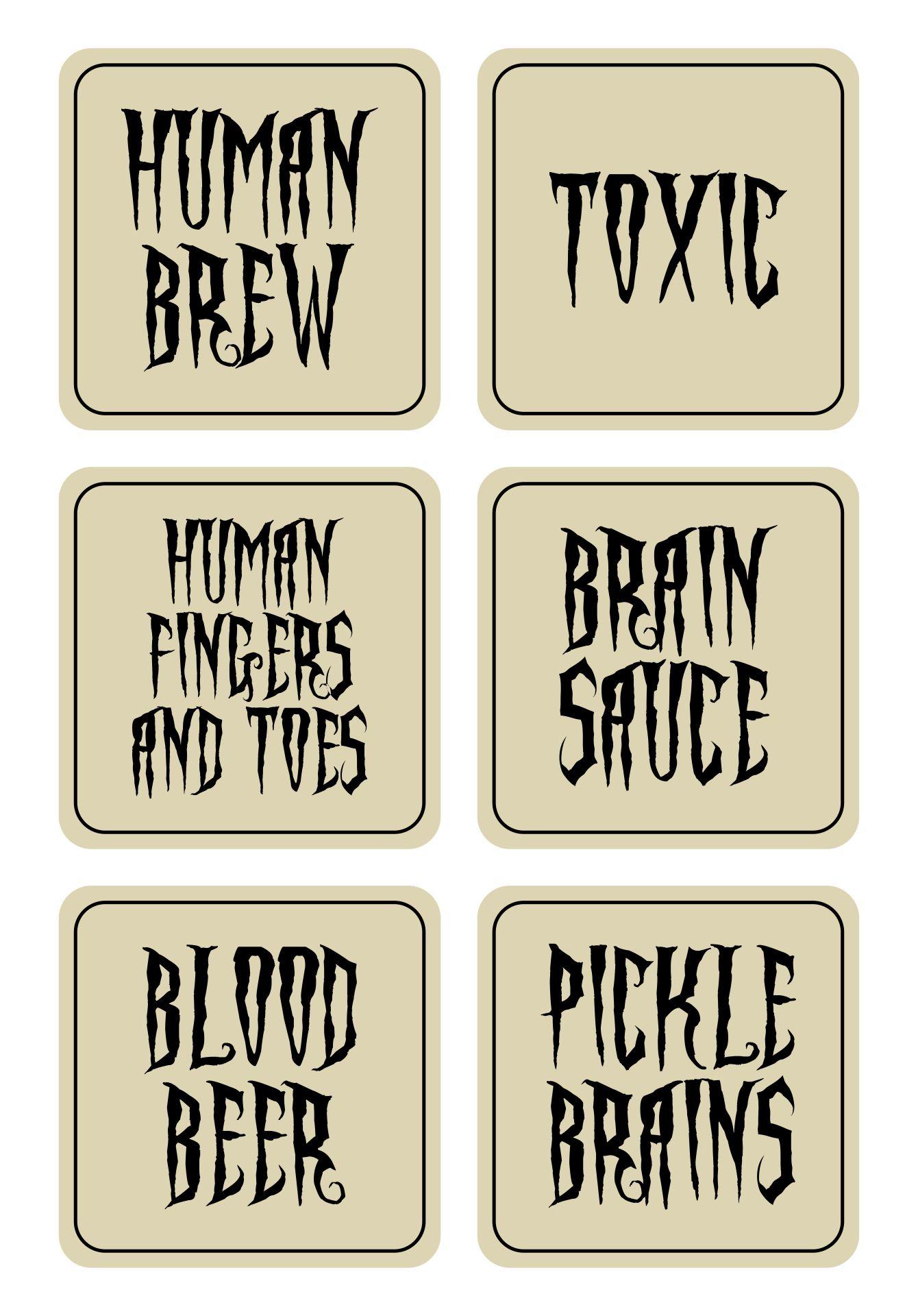 Free Printable Halloween Poison Bottle Labels