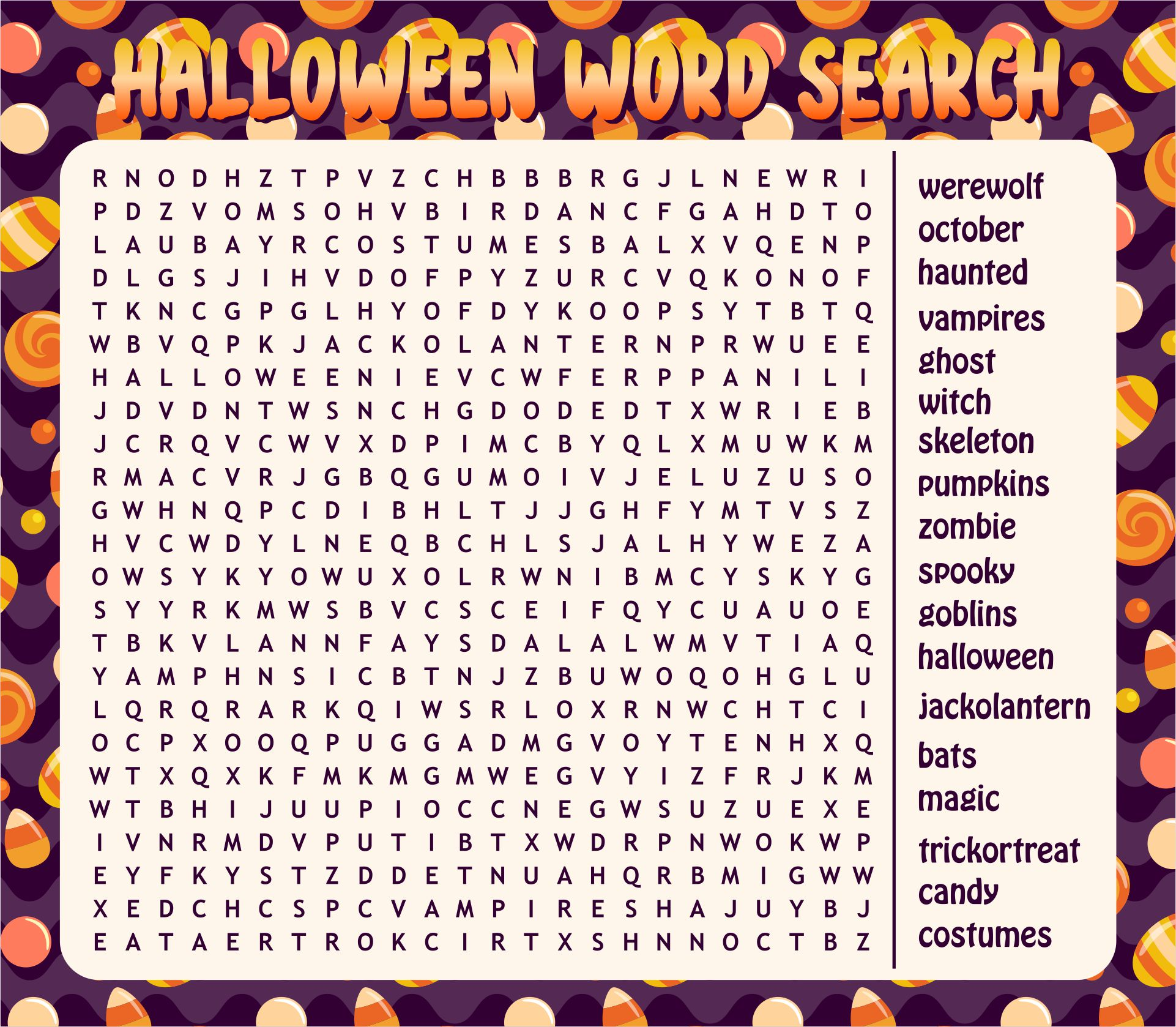Free Printable Halloween Word Search For 2nd, 3rd & 4th Graders