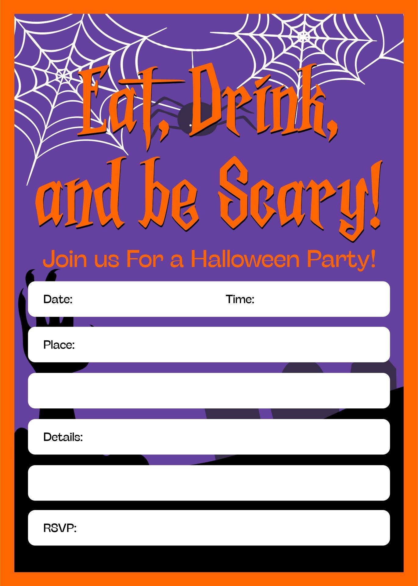 Free Printable Kids Halloween Party Invitations Templates