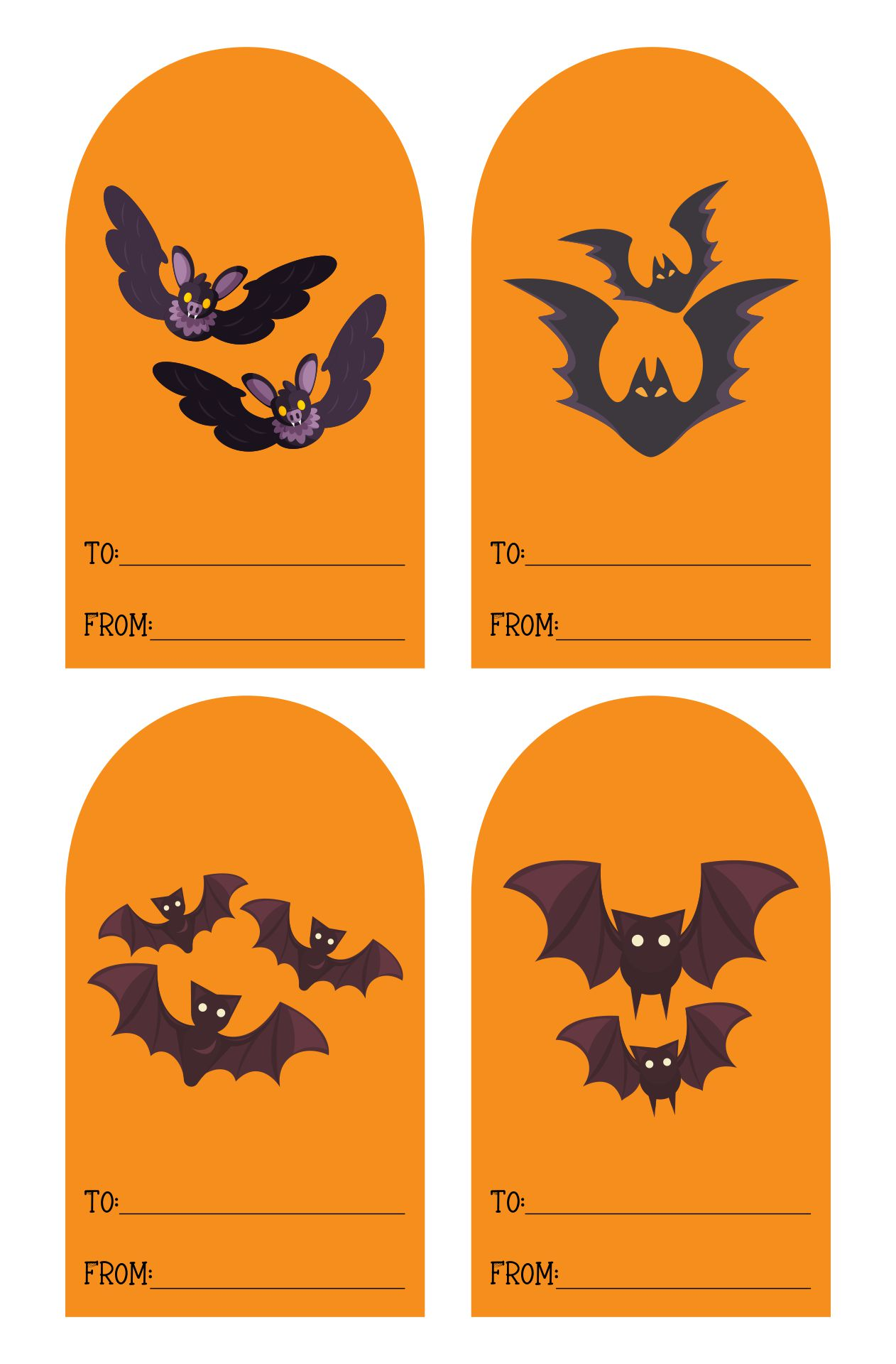Frightful Bat Gift Tag Template
