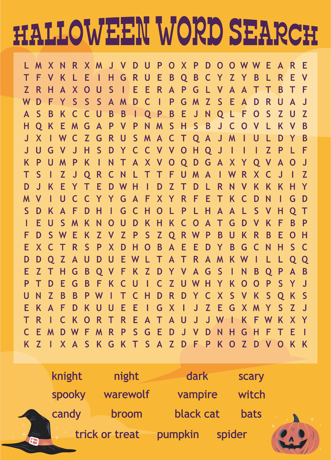 Fun & Free Printable Halloween Word Search